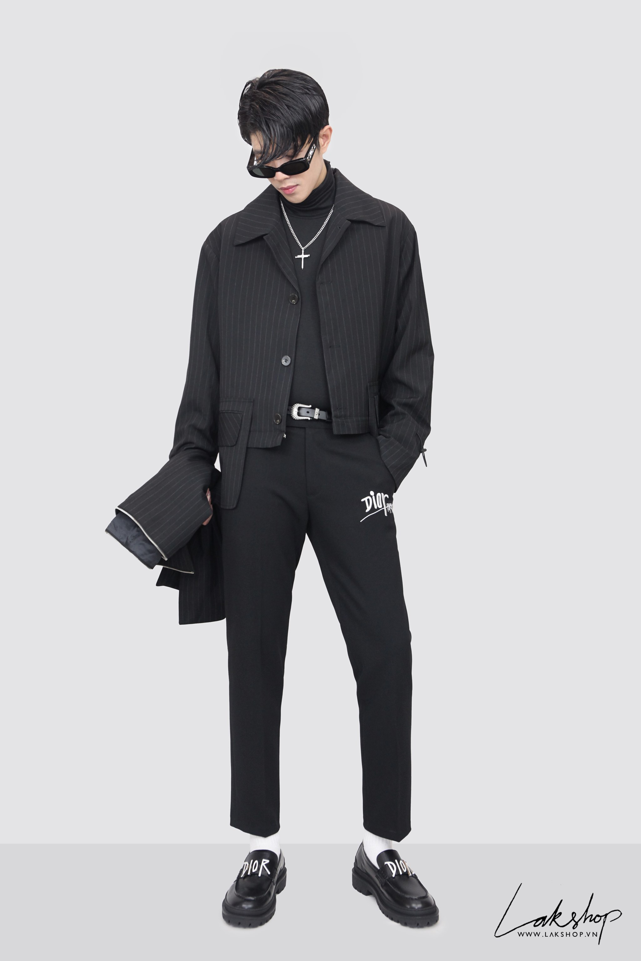 Black Stripe with Zip Trench Coat 2style  cv2