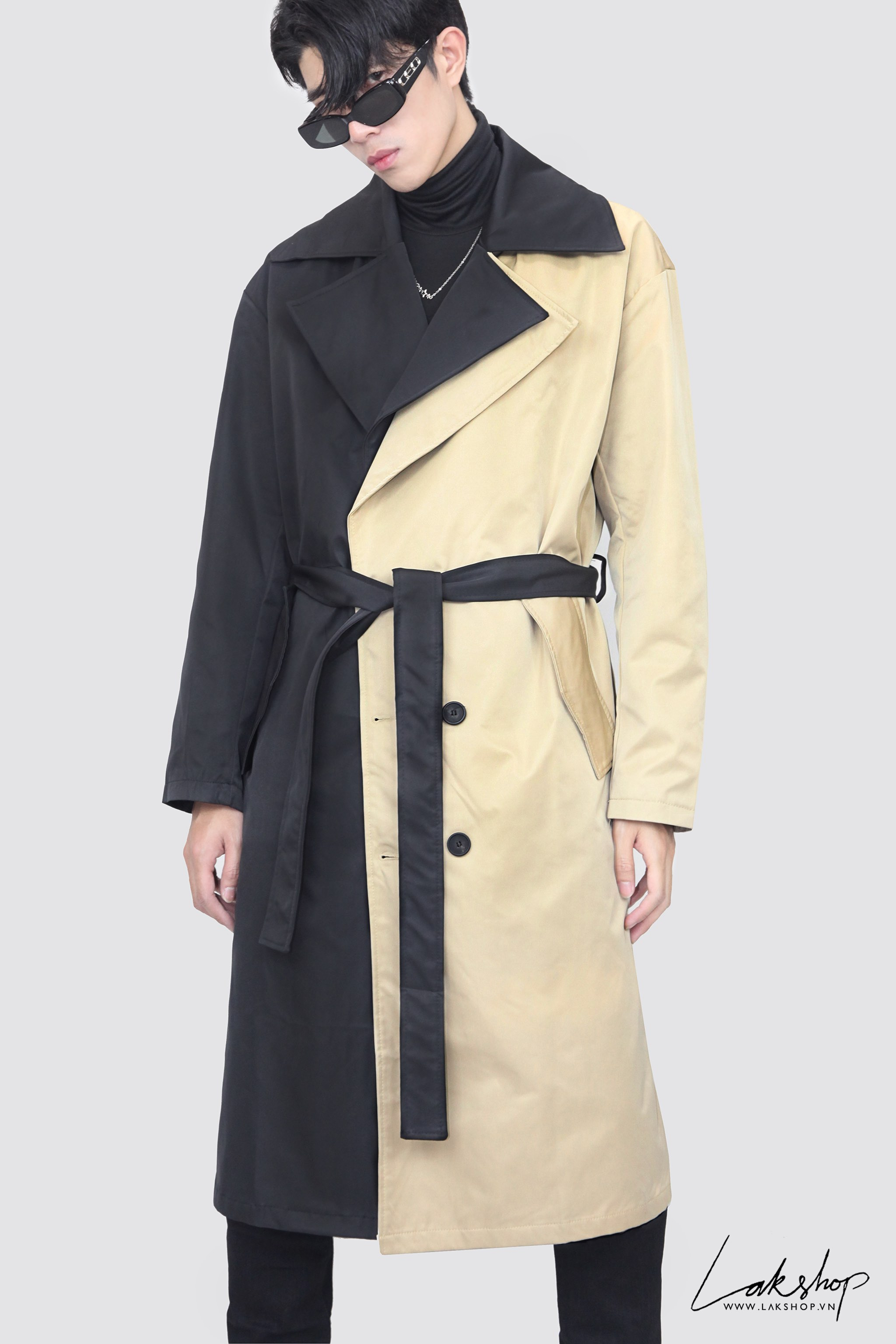 Two-Tone Black Tan Double-Breasted Trench Coat ds20