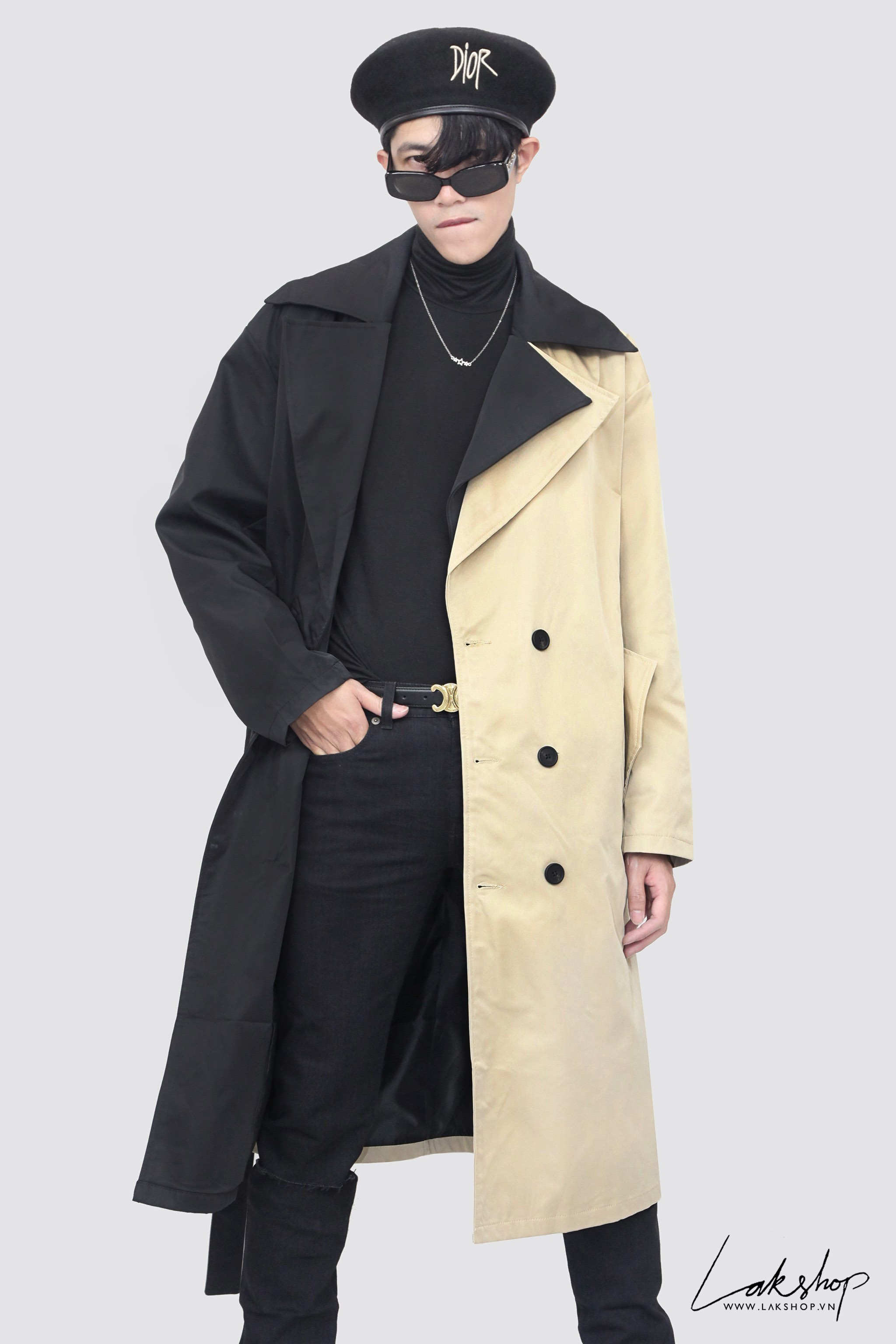 Two-Tone Black Tan Double-Breasted Trench Coat