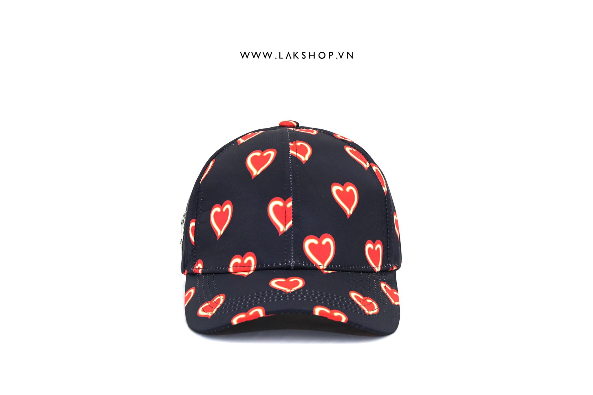 Prada Logo Hearts Print Caps