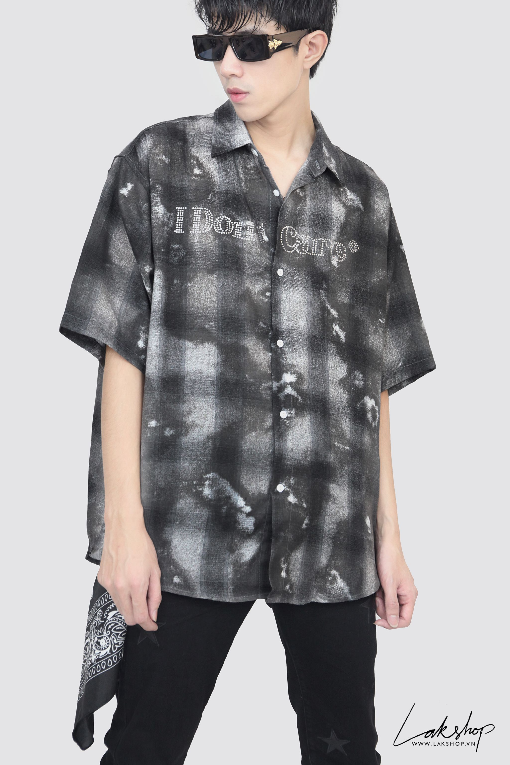 I Dont Care  Plaid Flannel Oversized Shirt
