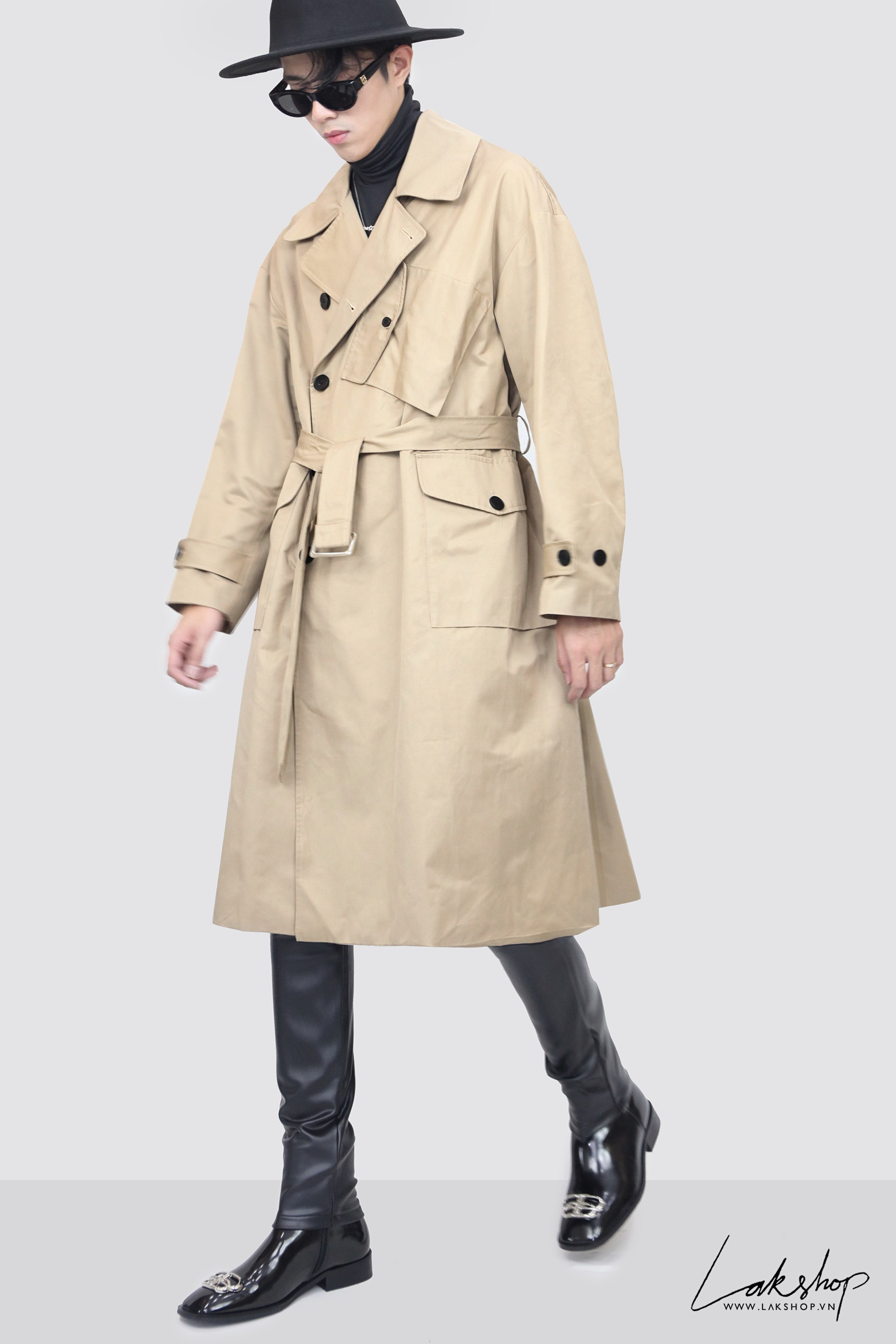 Belted Tan Trench Coat with Bag