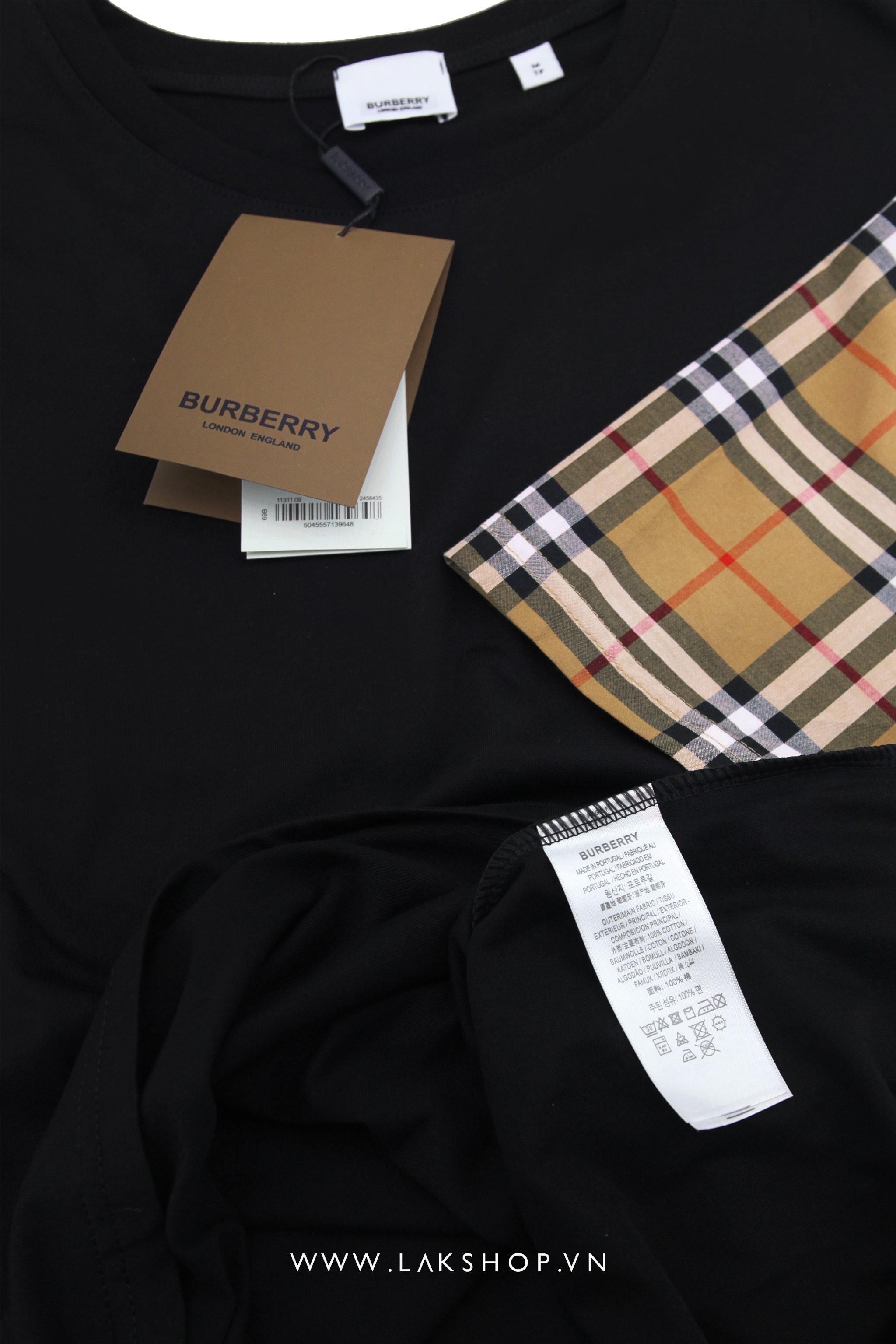 Burberry Checked Sleeves Black T-shirt (Bản đẹp) cv1