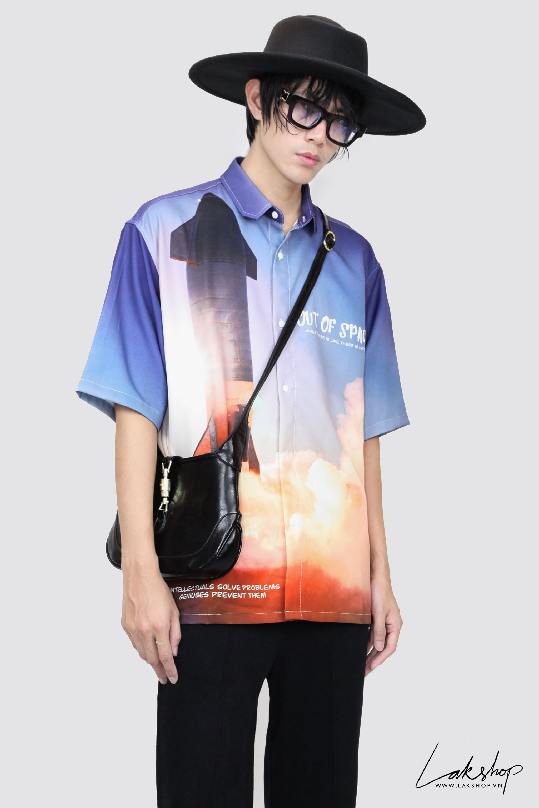 Oversized Out Of Space Rocket Print Short Sleeve Shirt cv3
