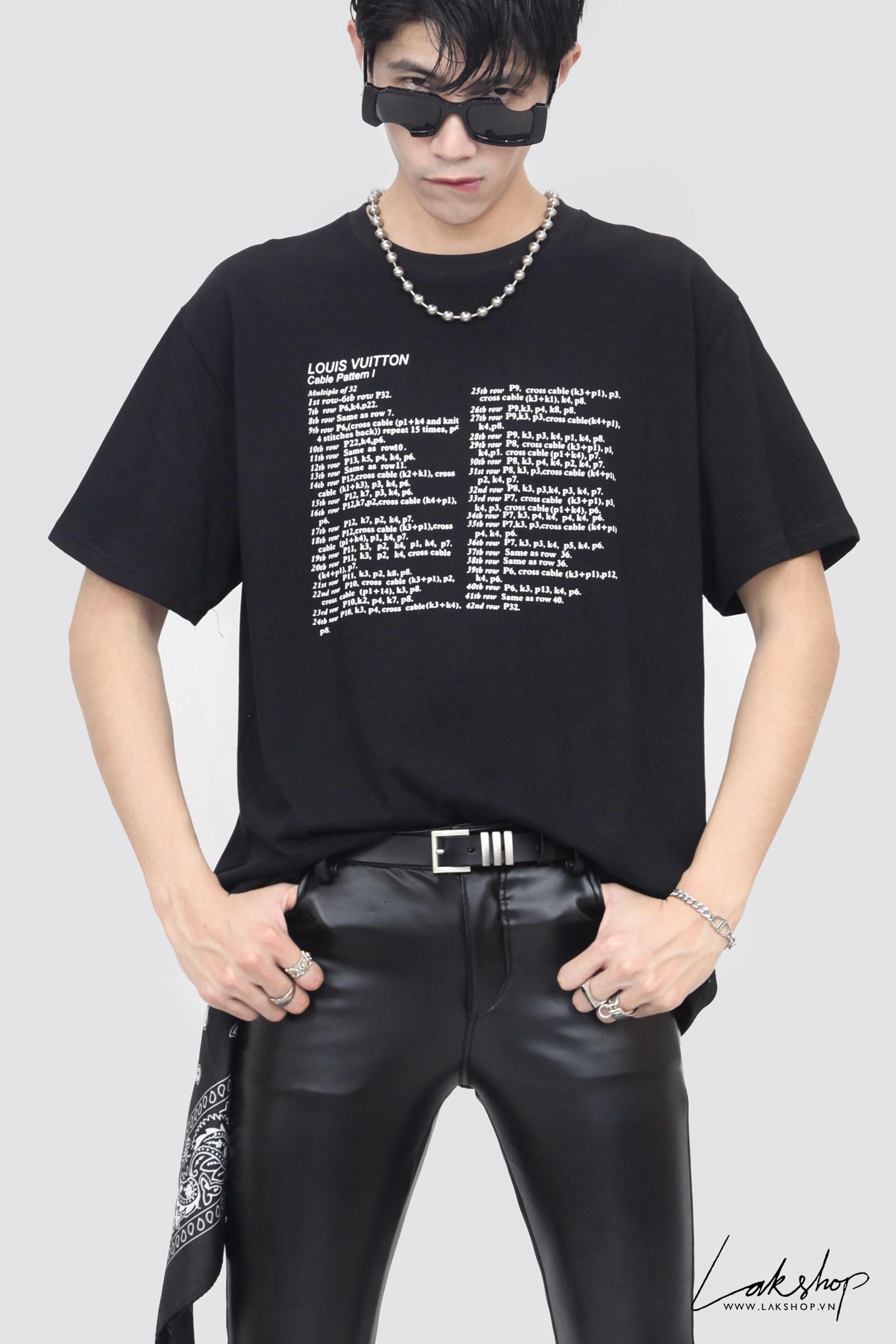 Louis Vuitton Cable Pattern I Black T-shirt