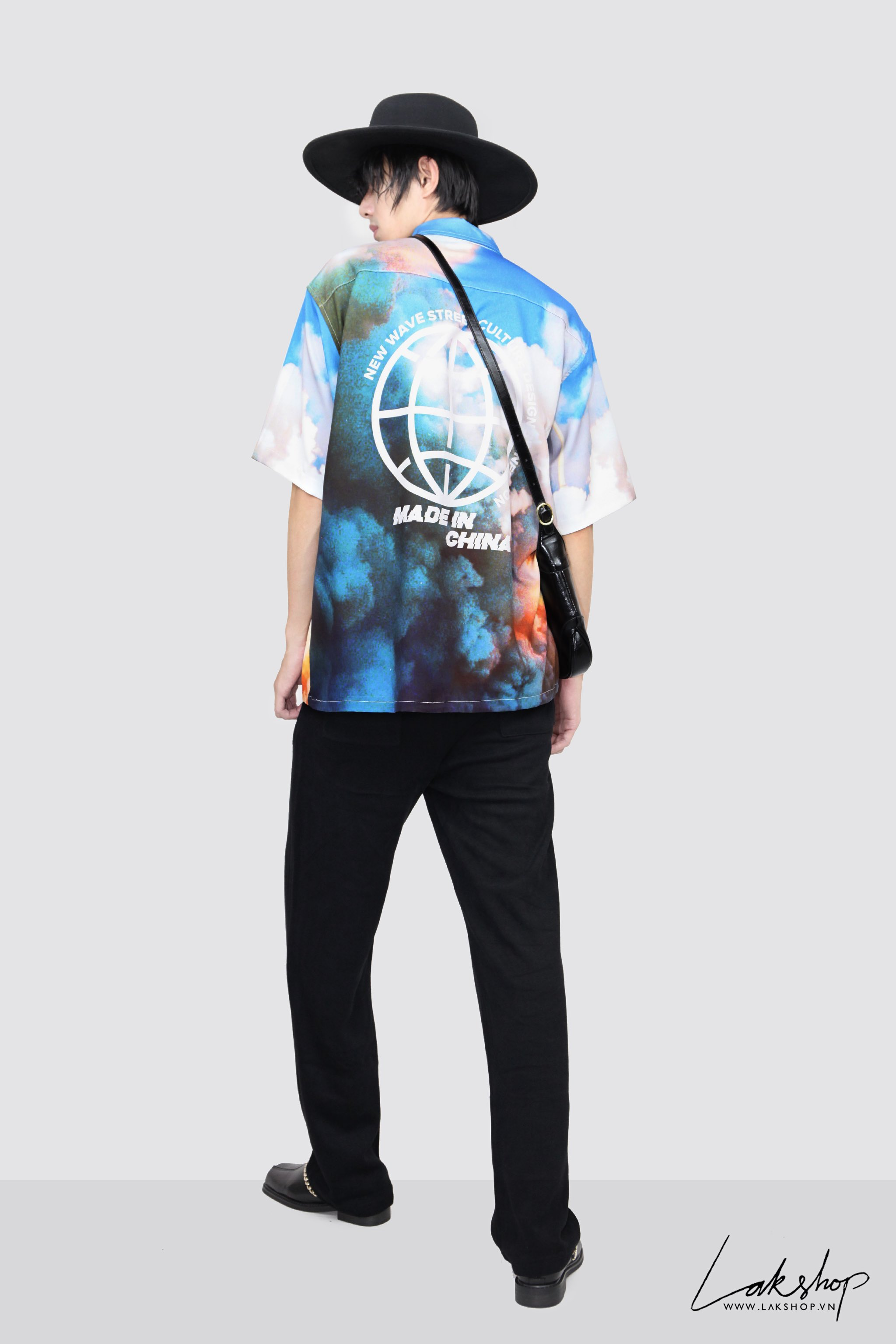 Oversized Rocket Print Short Sleeve Shirt cv3