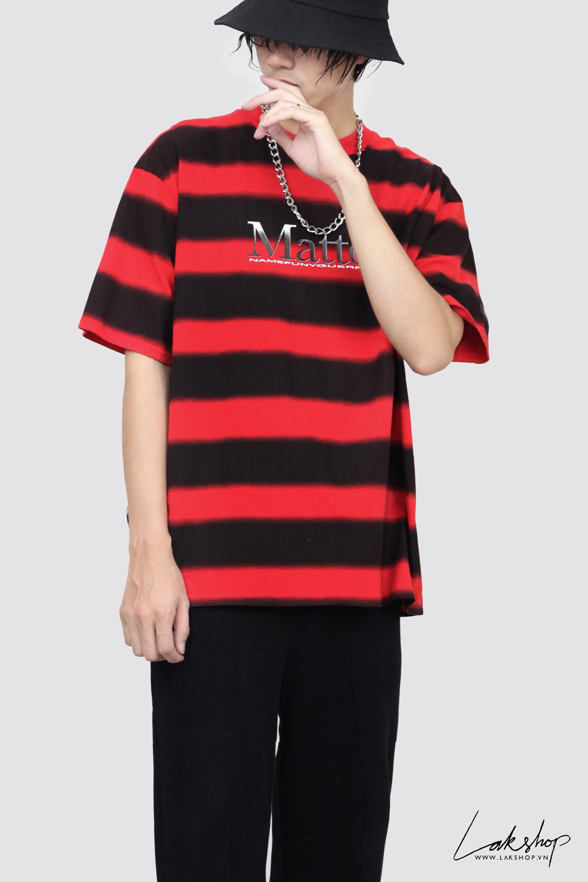 Matter Red Black Stripe Oversized T-shirt cv3