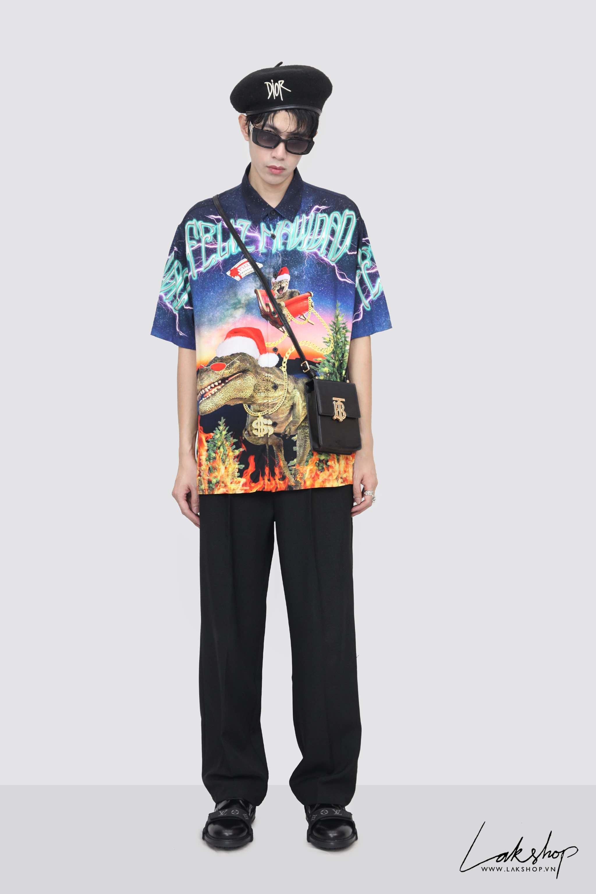 Bershka Dinosaurs Print Oversize Shirt (Chính Hãng) cv1