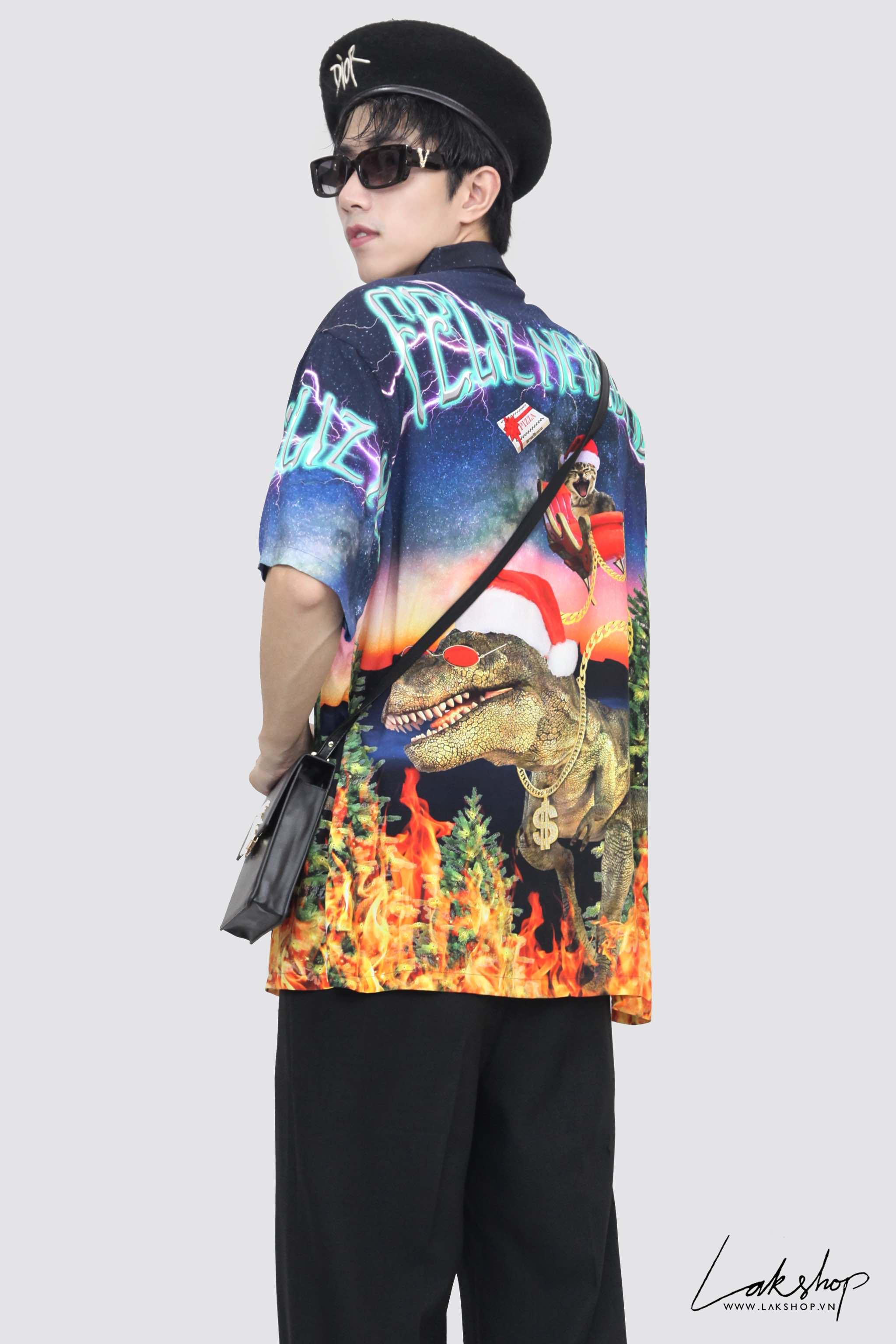 Bershka Dinosaurs Print Oversize Shirt (Chính Hãng)