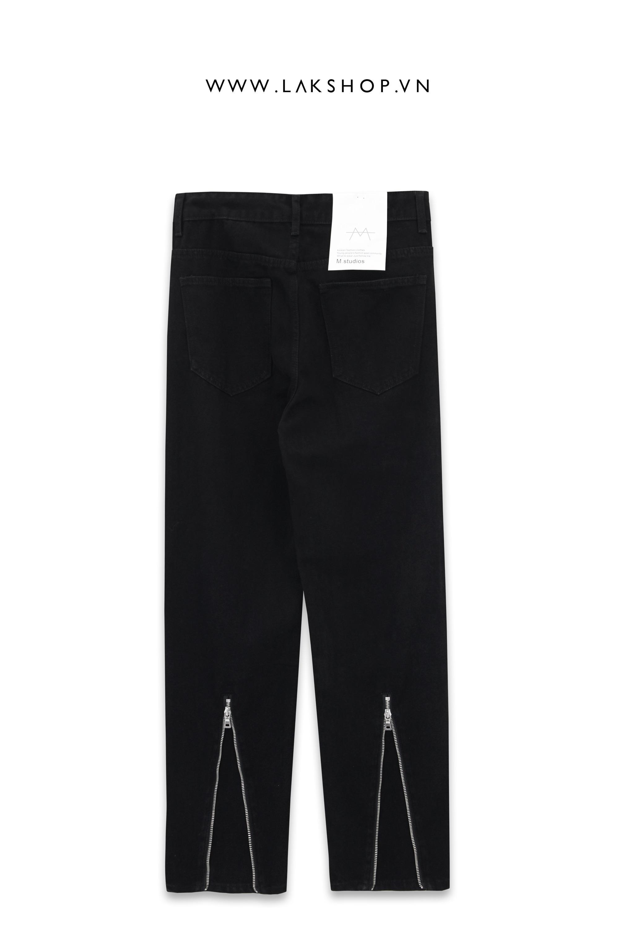 Black Loose Zipper Wide Leg Jeans