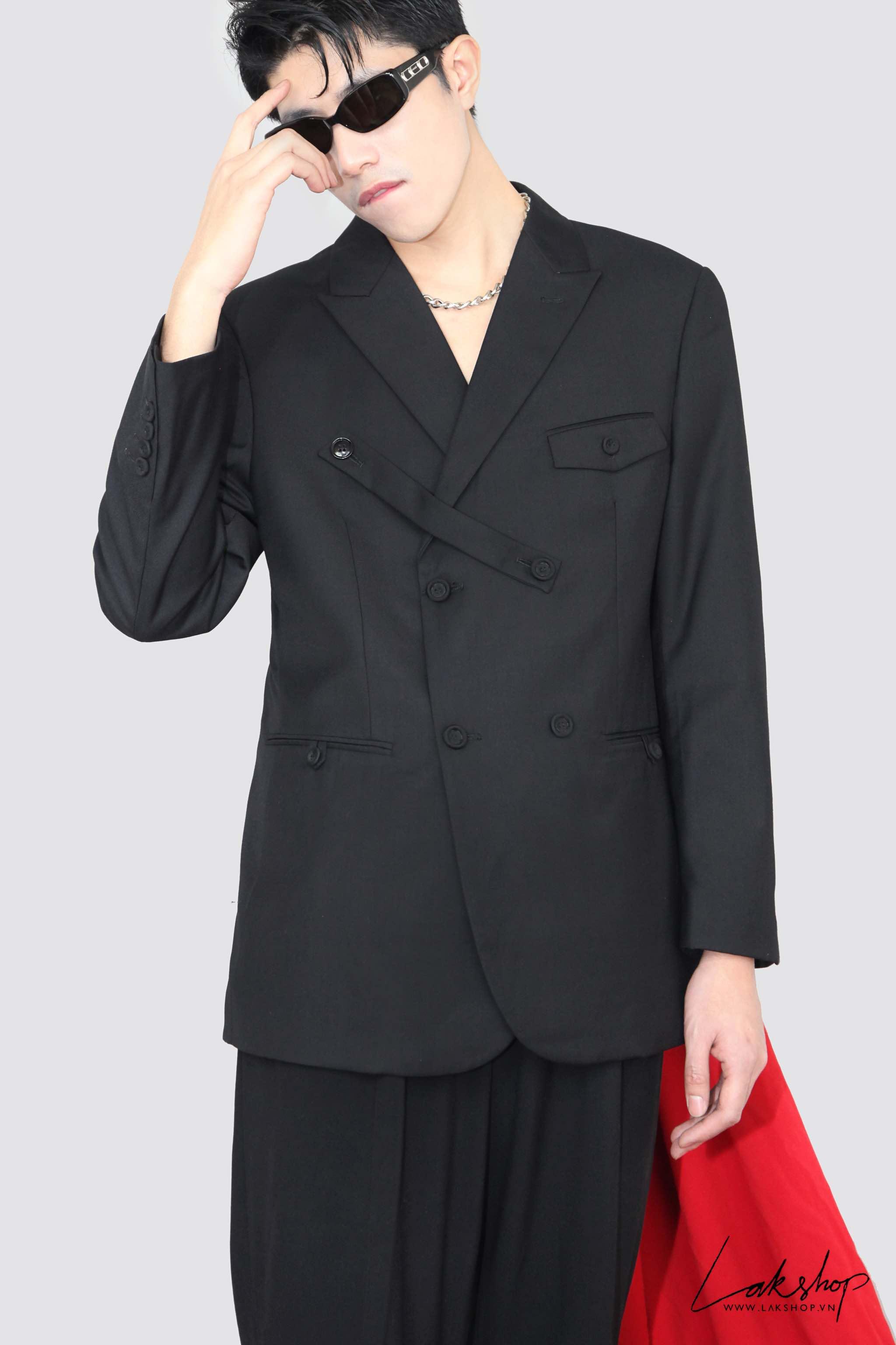 LakStudios Black Satin Collar Shirt