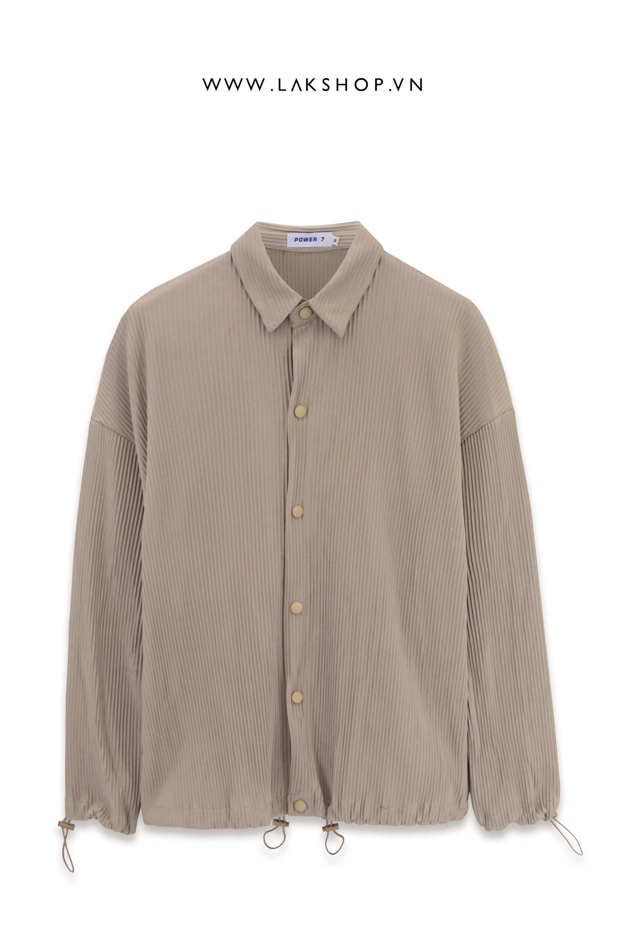 Oversized Pleated Shirt in Begie cv2