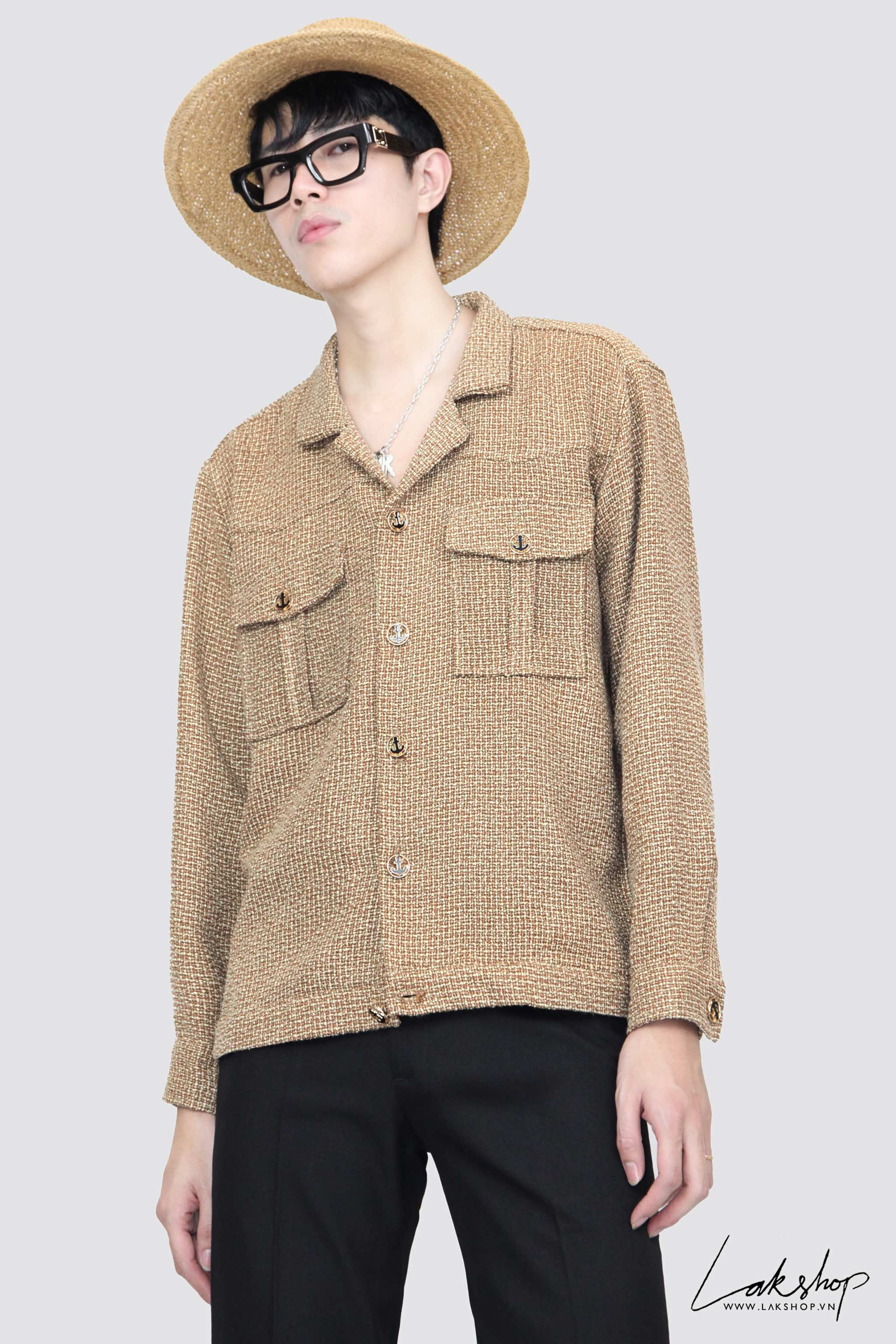 Lak Studios Black With Chain Silk Shirts cv1