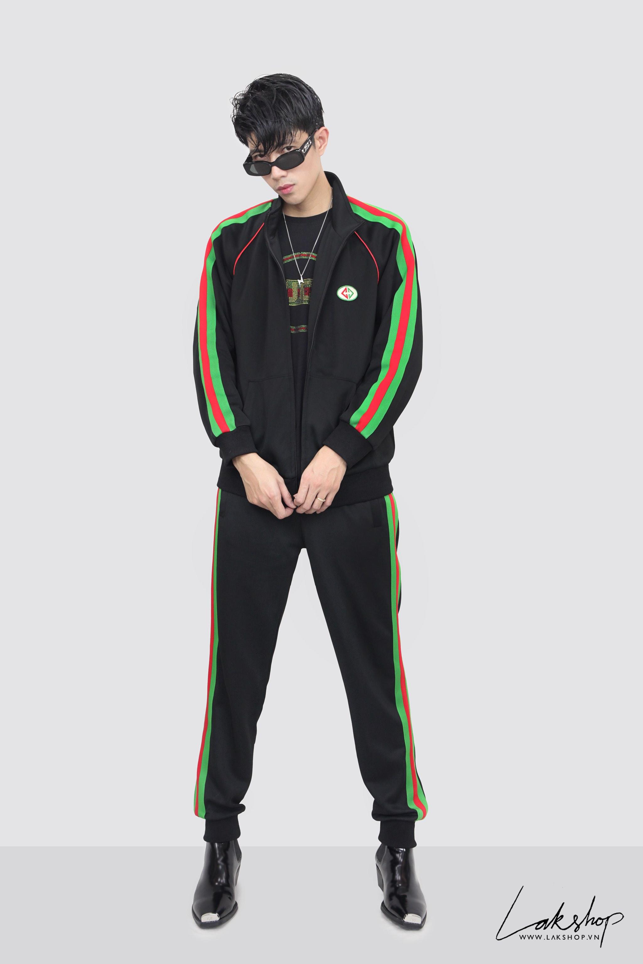 Gucci Black/Green Logo Track Jacket ds20