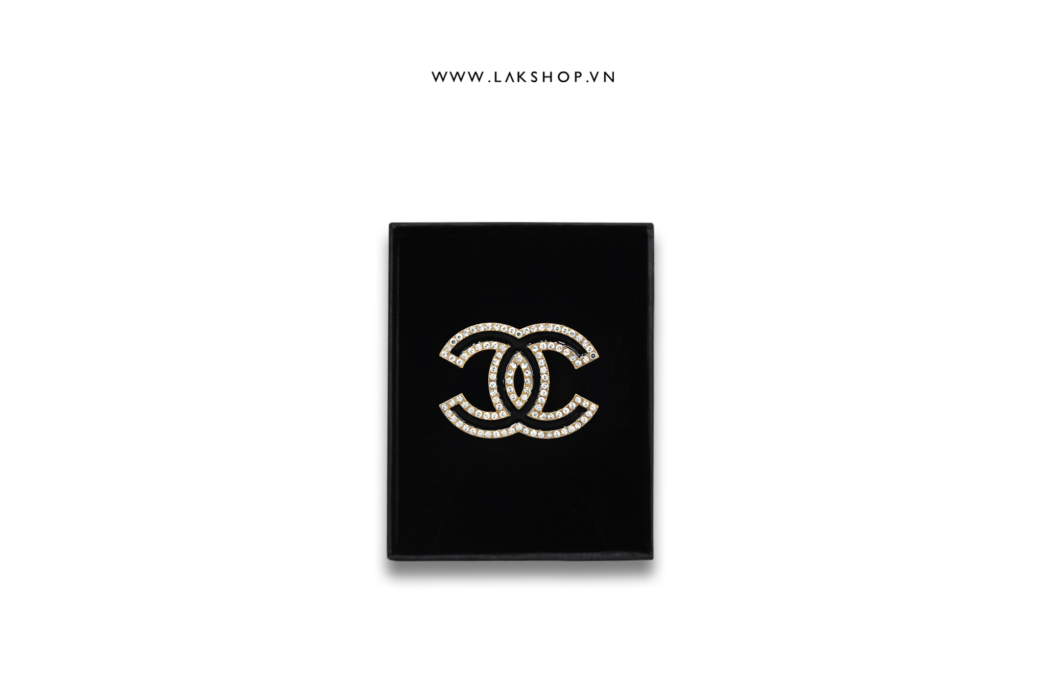 Trâm Cài Chanel Logo CC Đen viền đá