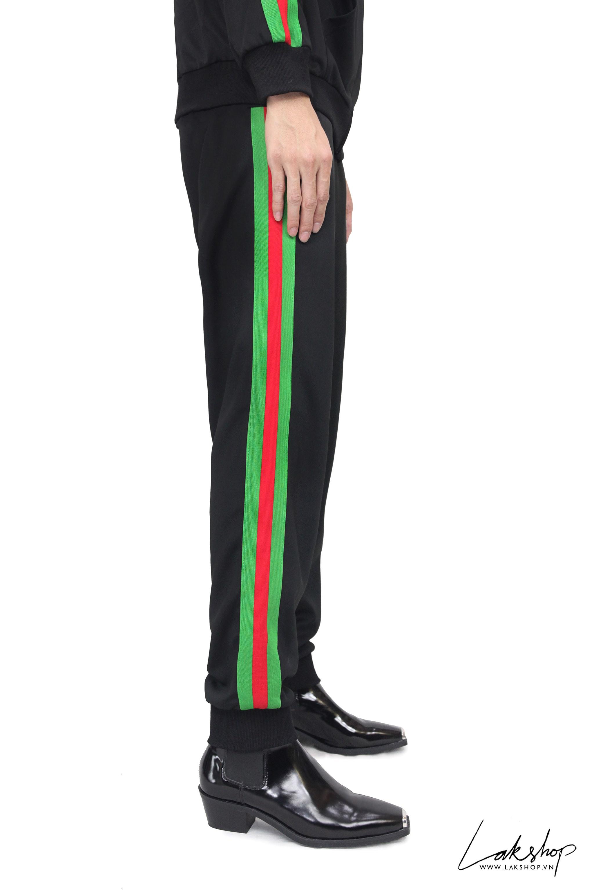 Gucci Black/Green Logo Track Pant ds20