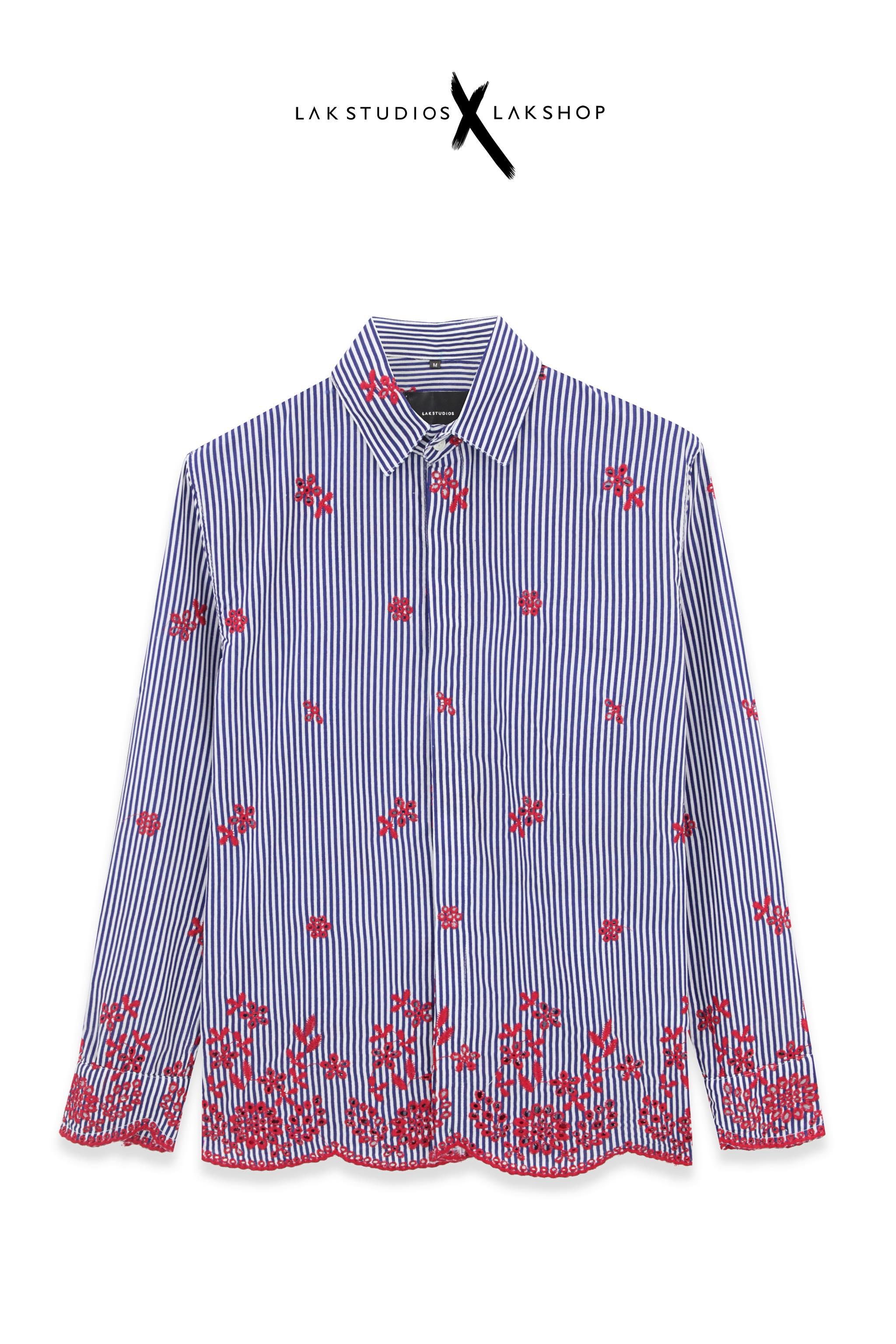 Lak Studios Heart Stripe Short Sleeve Shirt