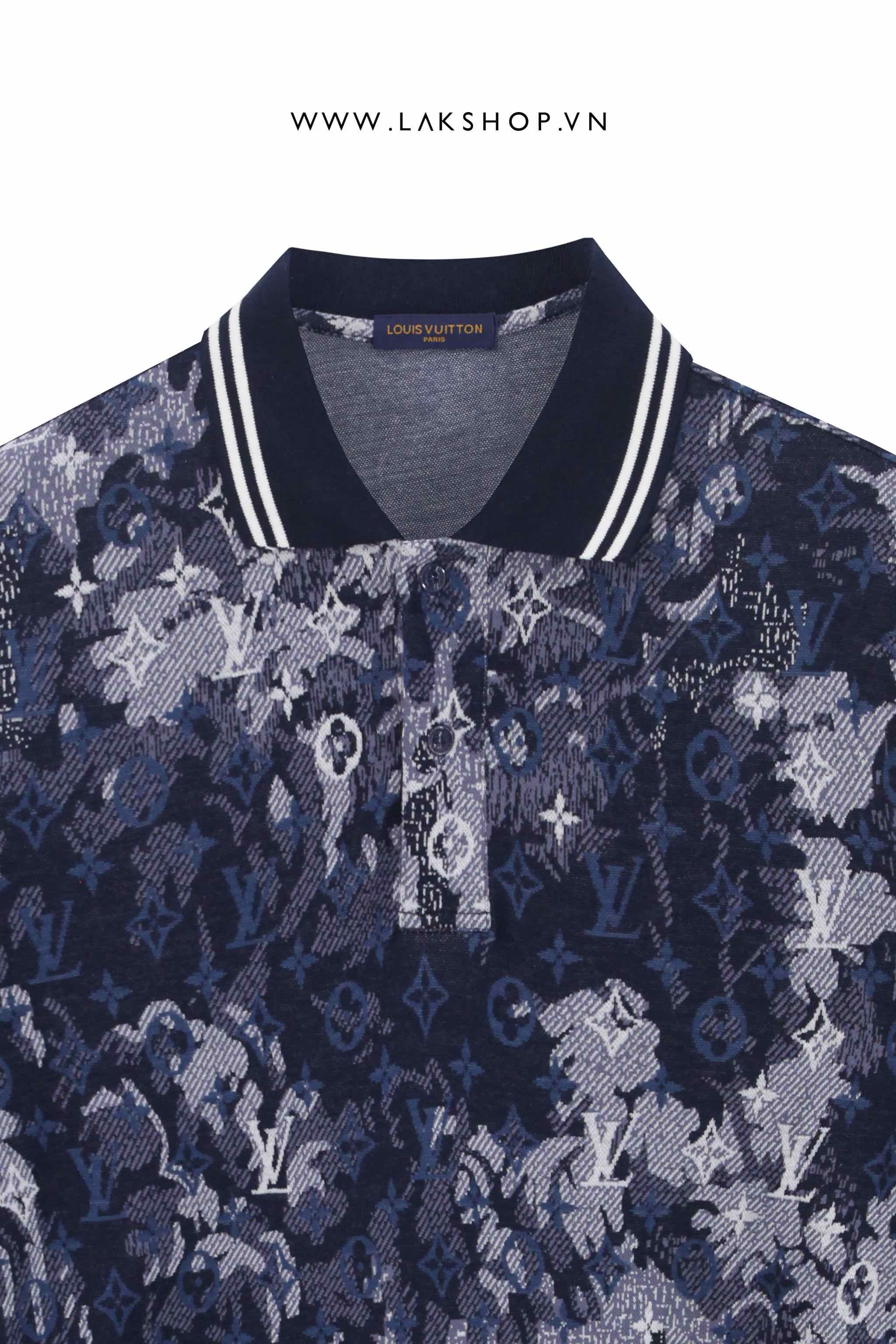 Louis Vuitton Hawaiian Tapestry Jacquard Blue Polo Shirt