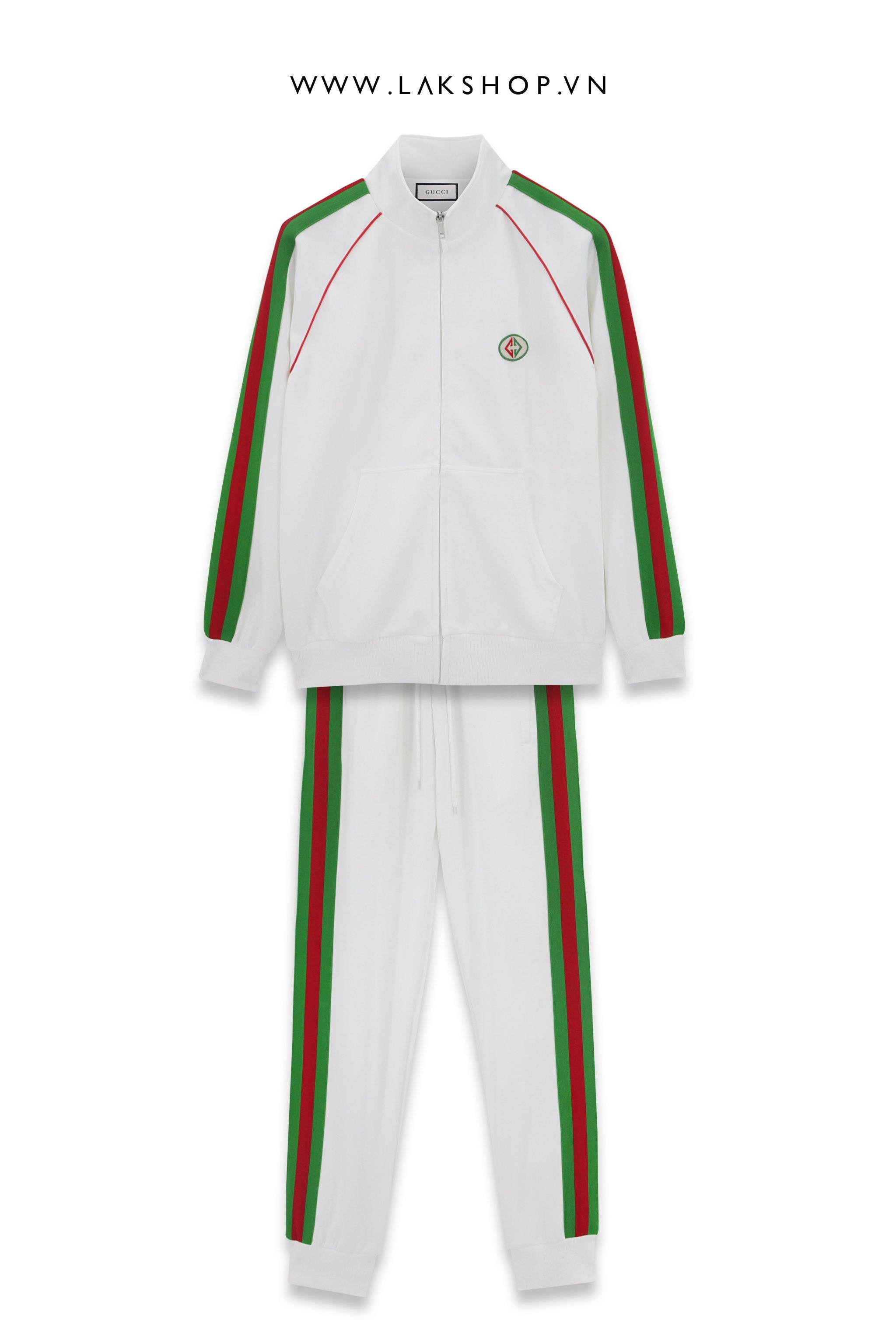 Gucci White/Green Logo Track Jacket  cv3