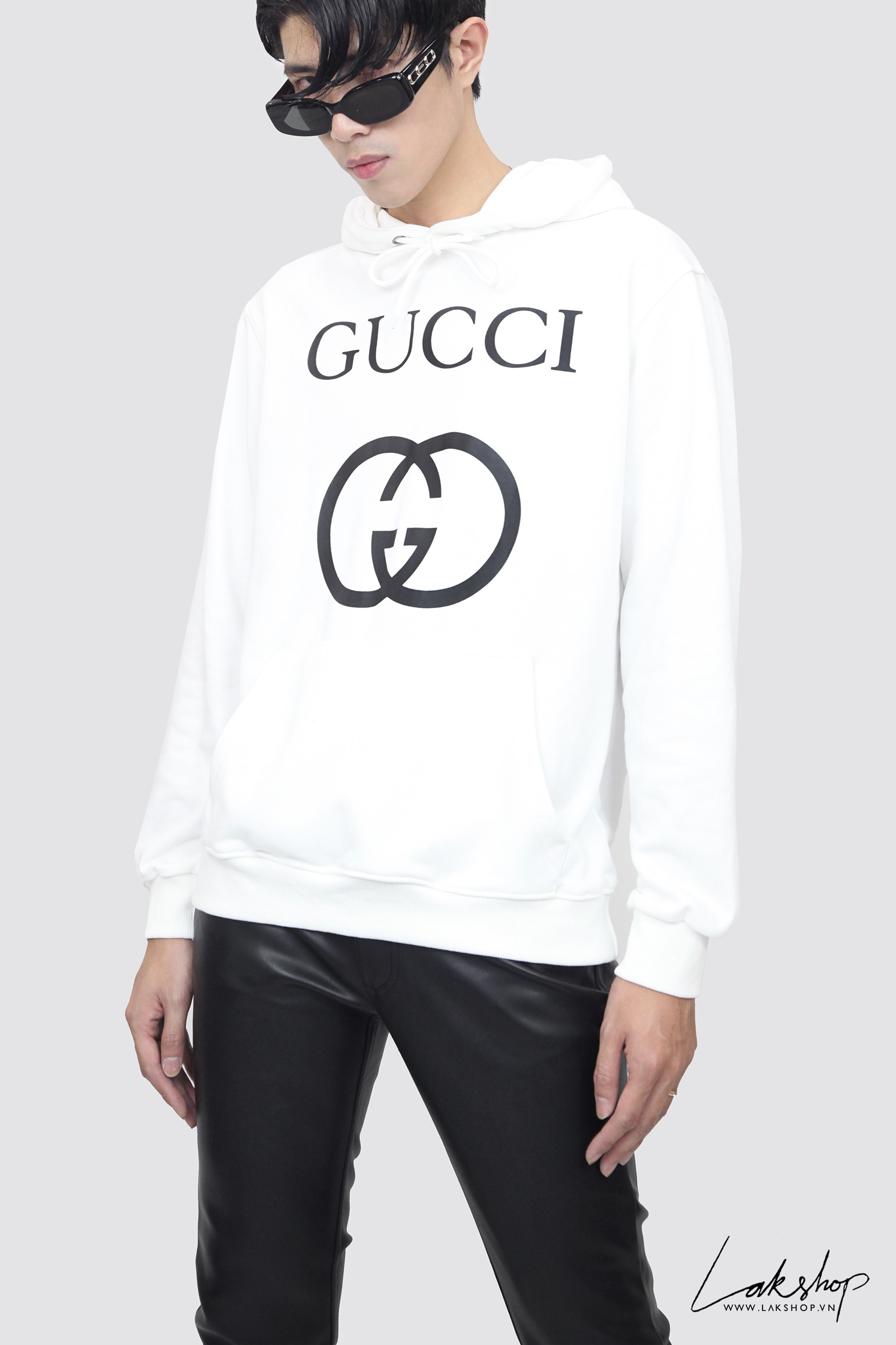 Gucci GG Lock Logo Oversized White Hooded  Sưeatshirt ds20