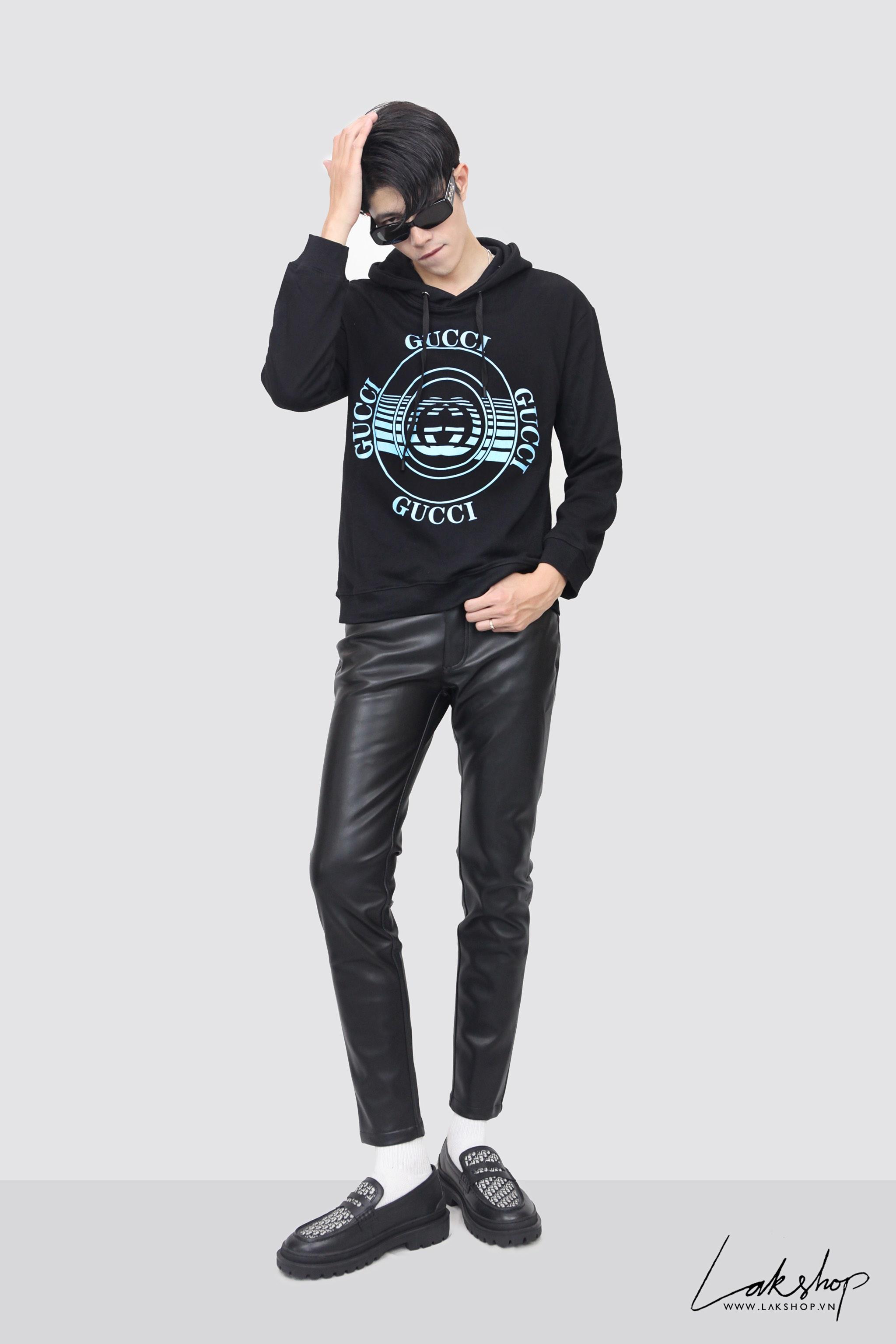 Gucci Logo Blue Square Oversized Hooded  Sweatshirt