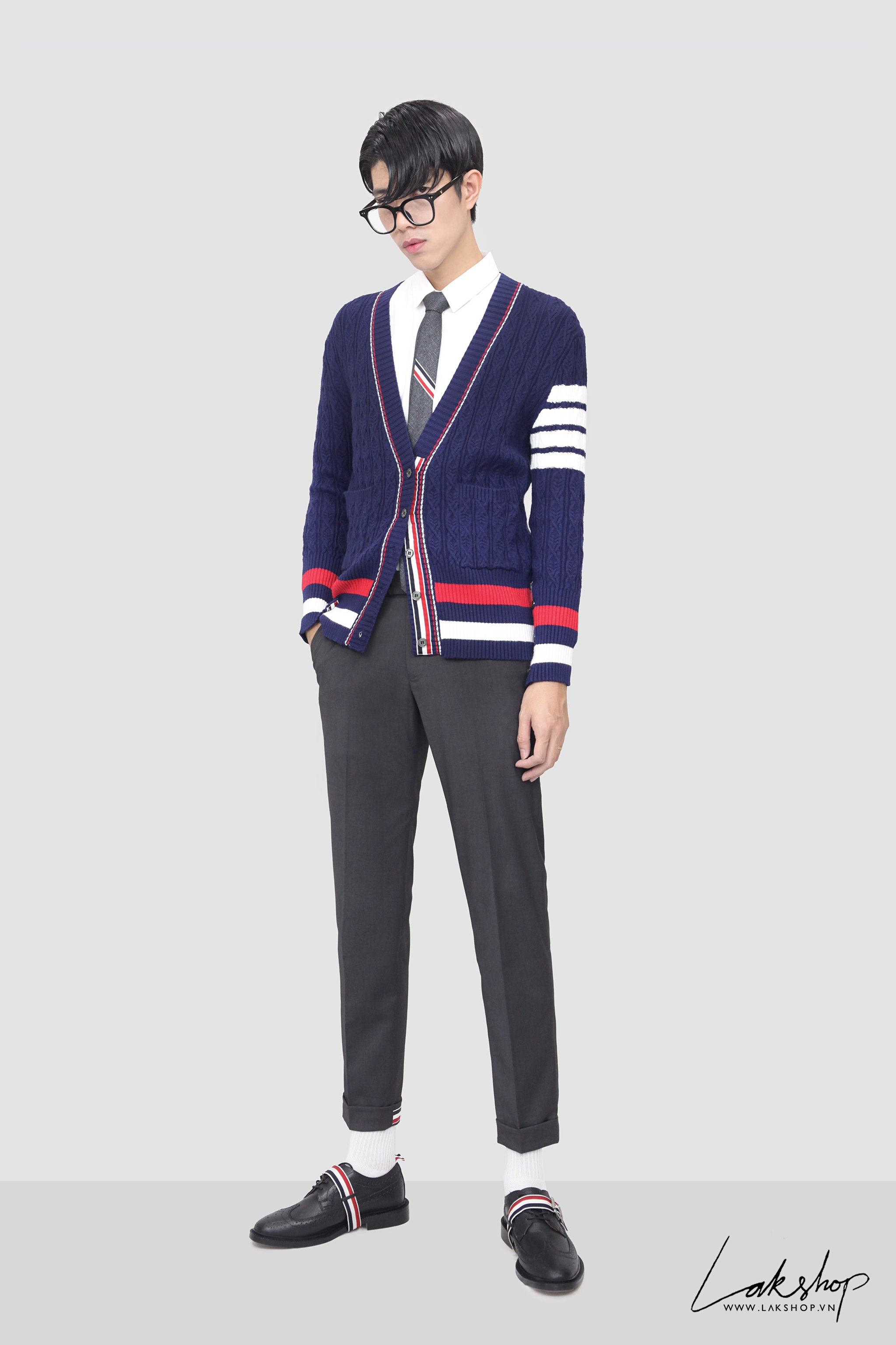 Cà Vạt Thom Browne Classic Rwb Stripe Tie in Grey
