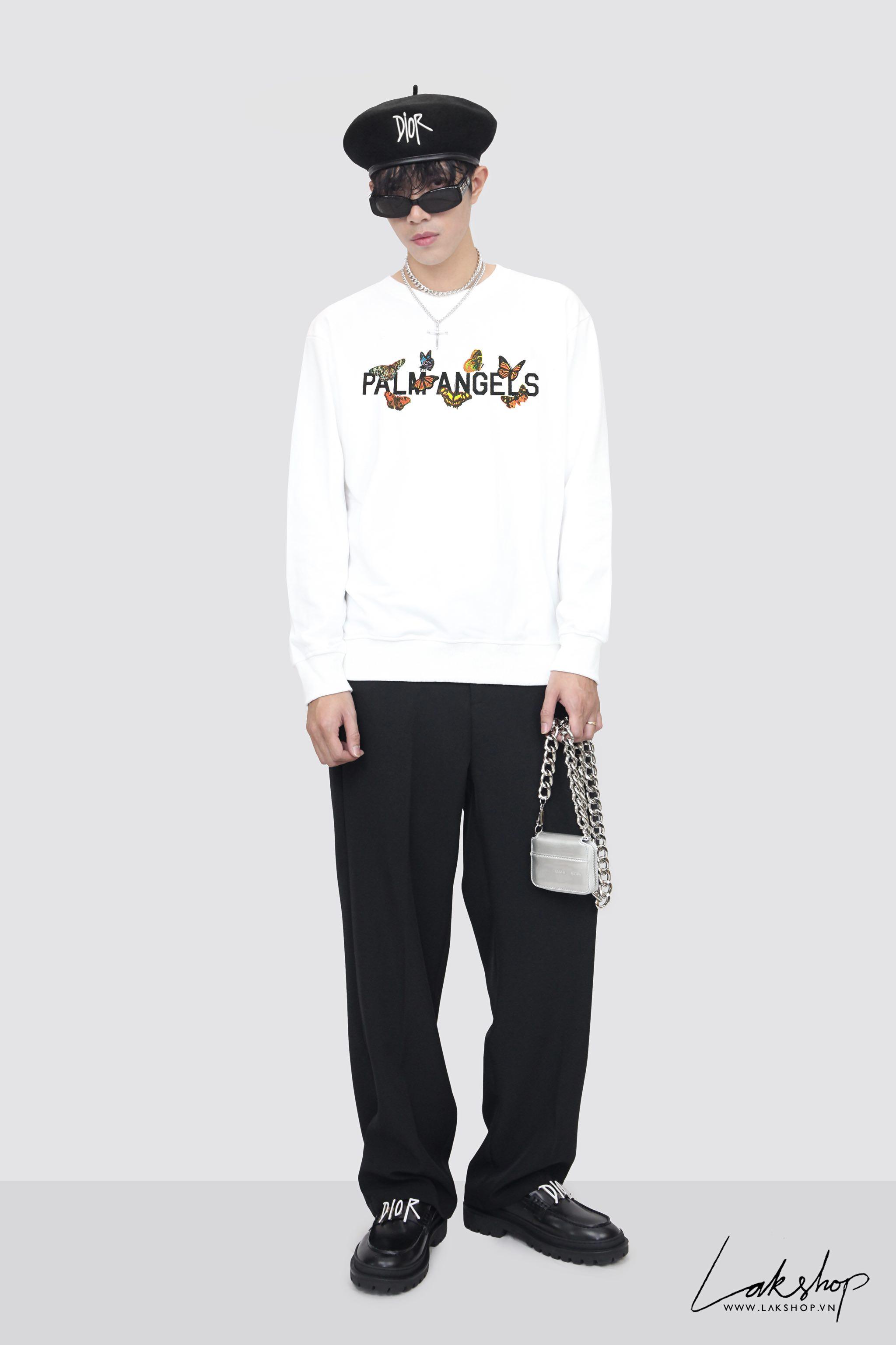 Palm Angels Butterfly Print Sweatshirt in White cv2