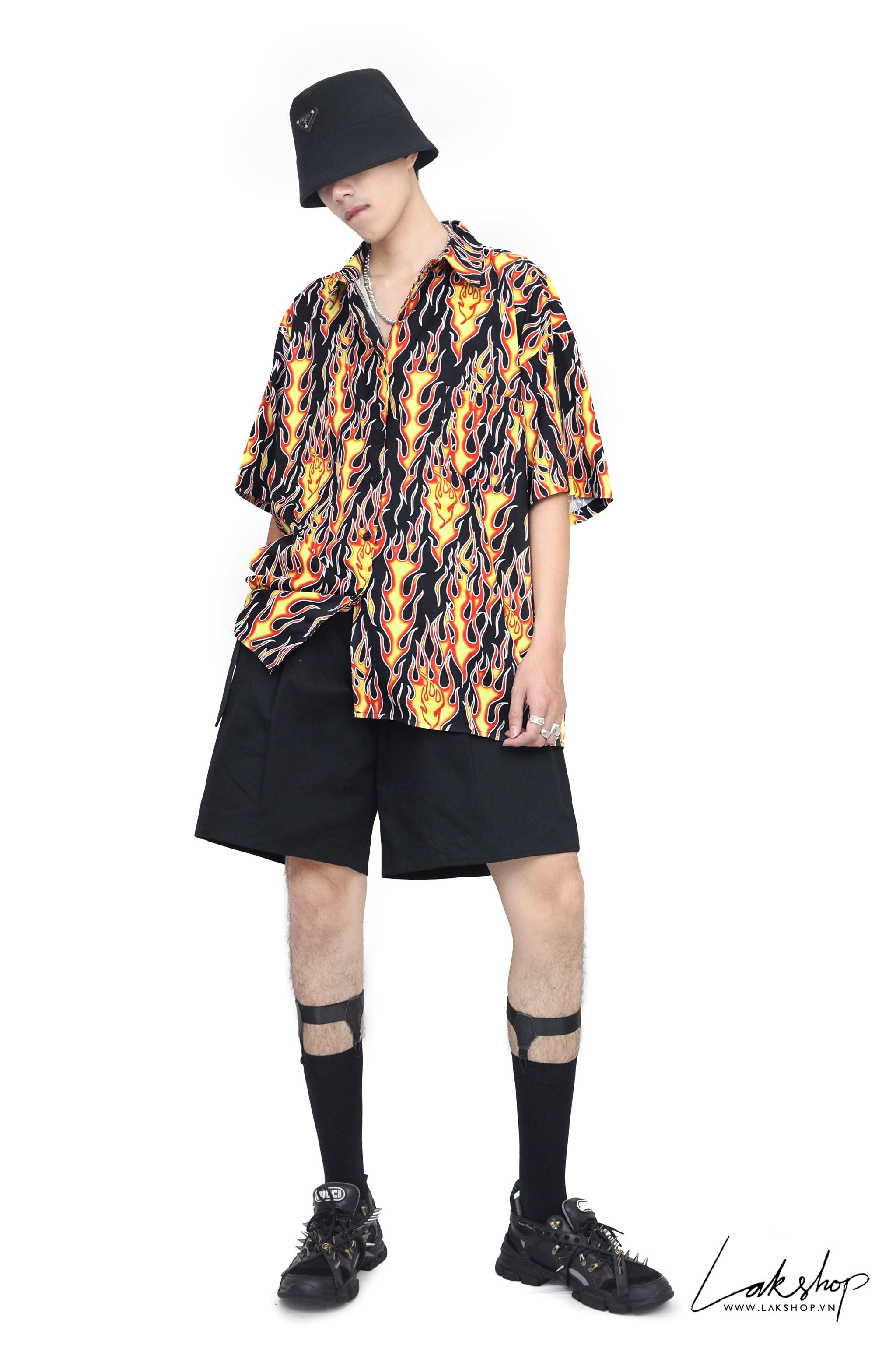 Flame Oversize Short Sleeve Shirt  cv5