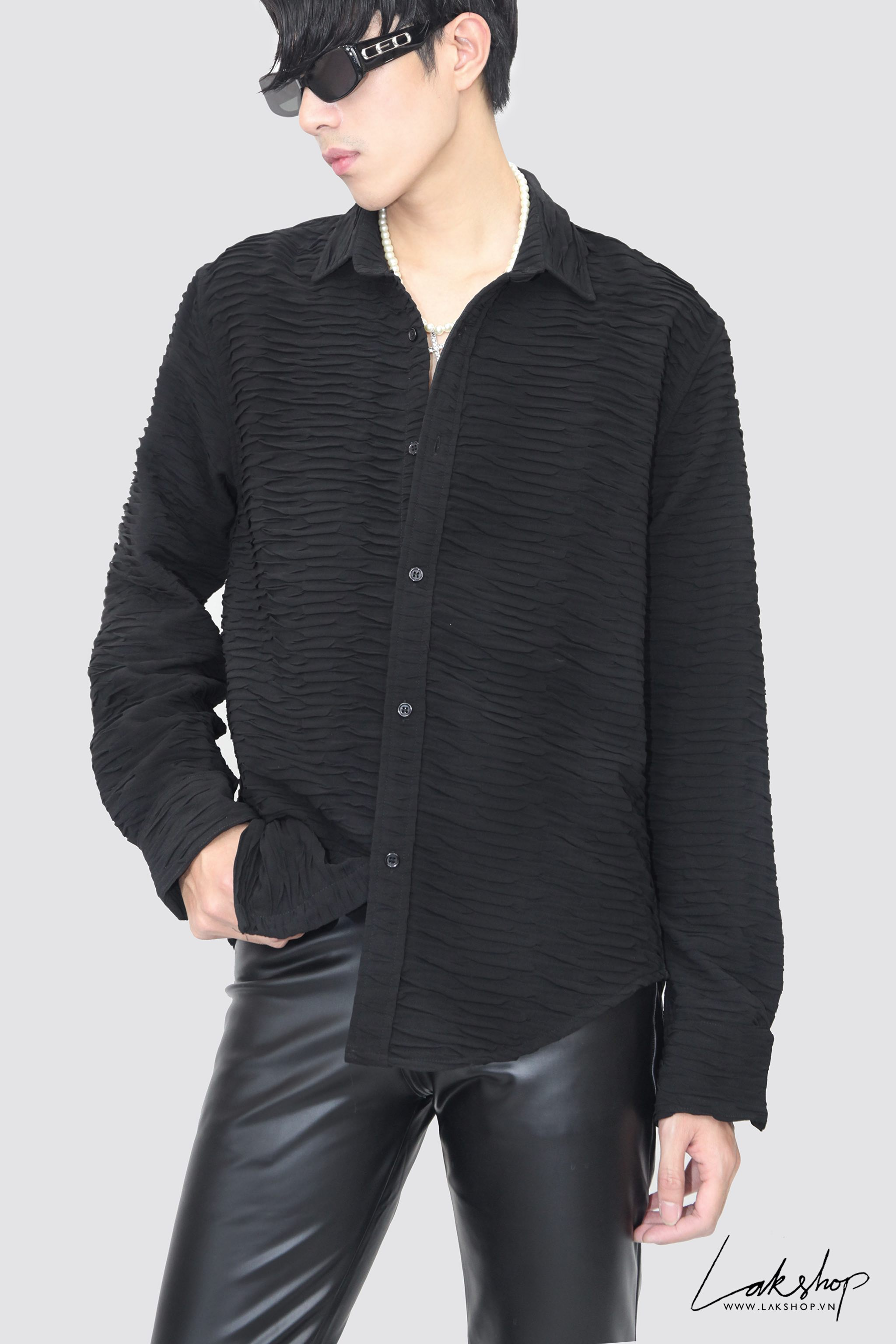 Lak Studios Pleated Wrinkled Black Shirt (Limited Editon)