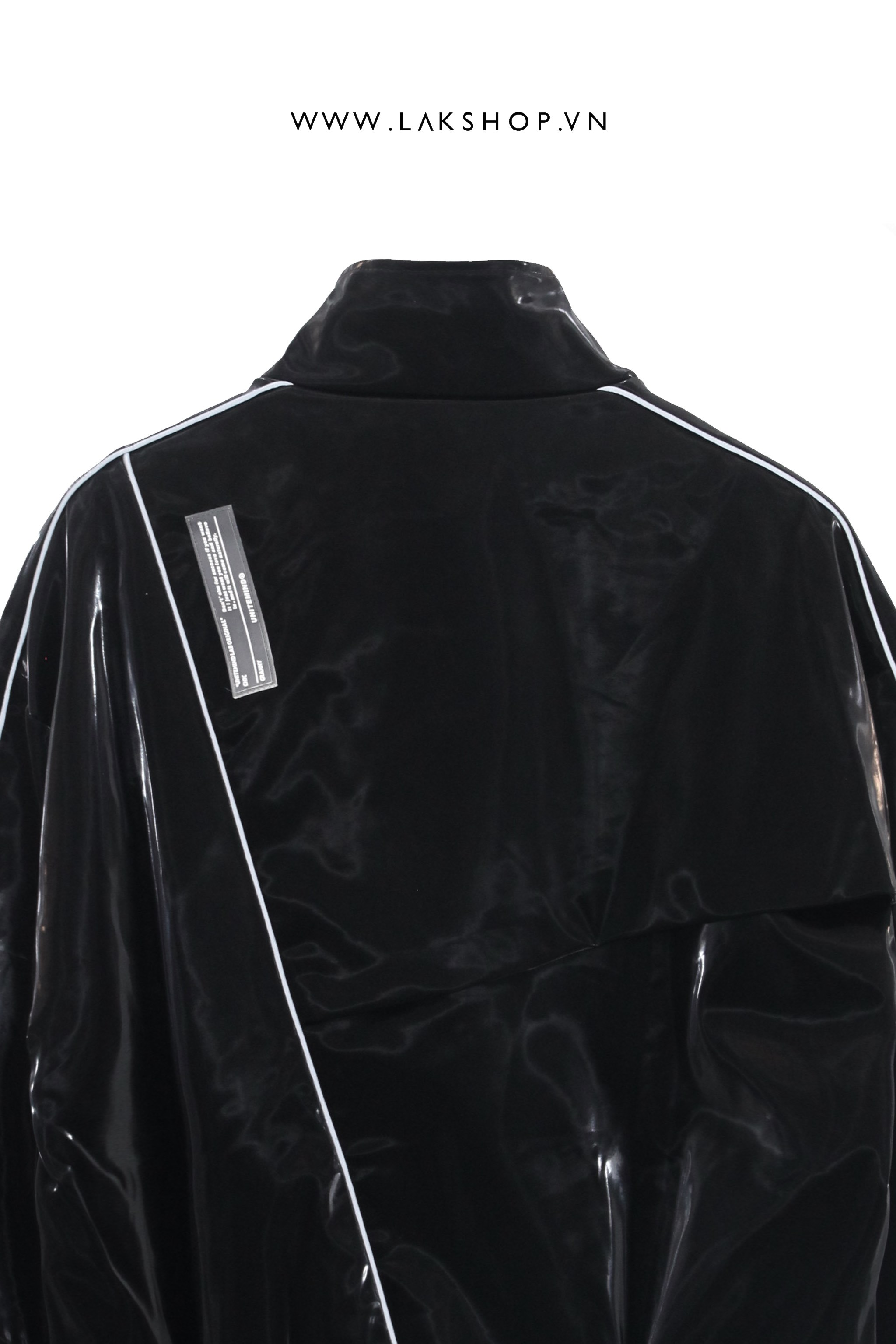 Oversized Leather Effect Jacket with Chain cv2