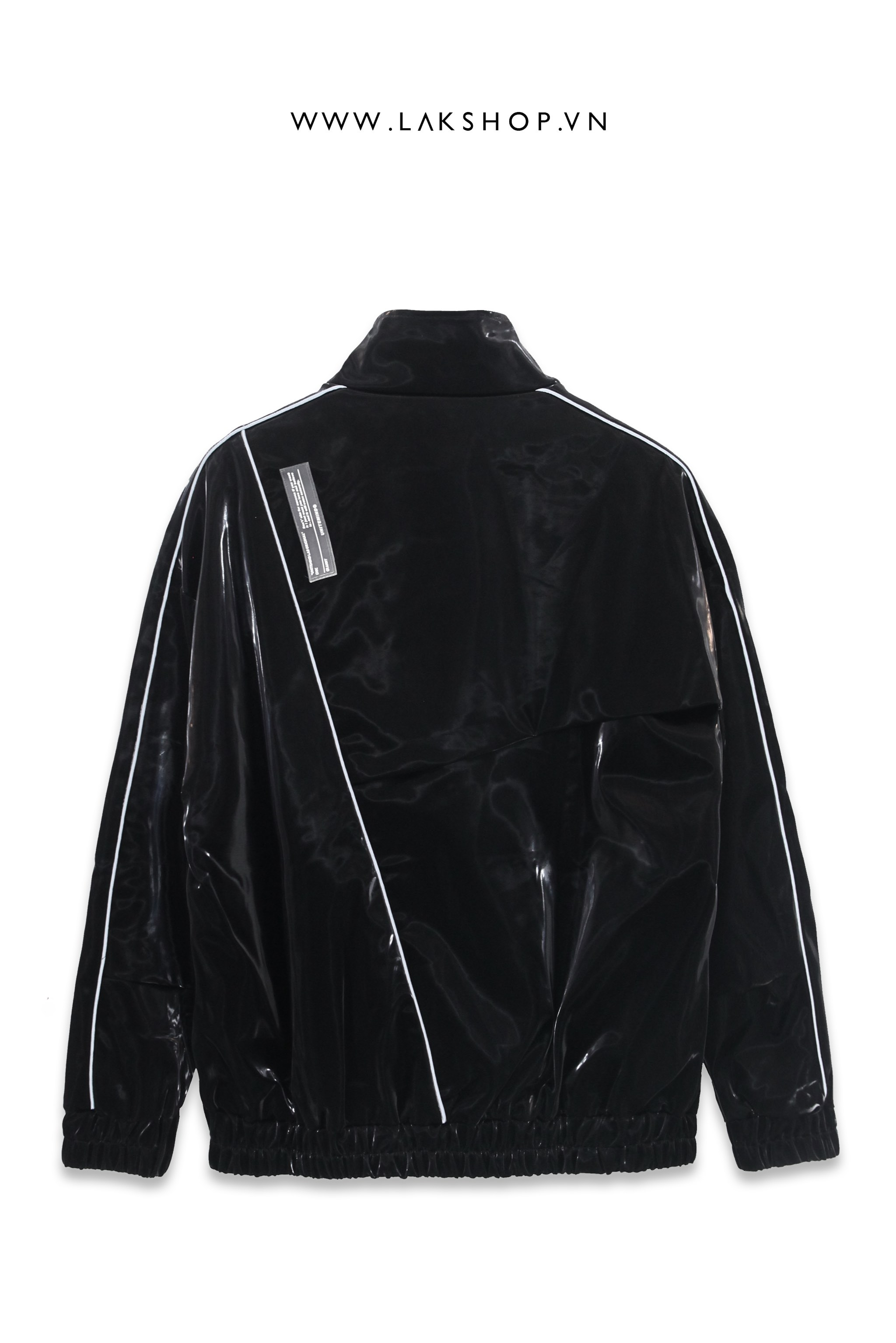 Lak Studios Faux Leather Shirt with Metallic Collar