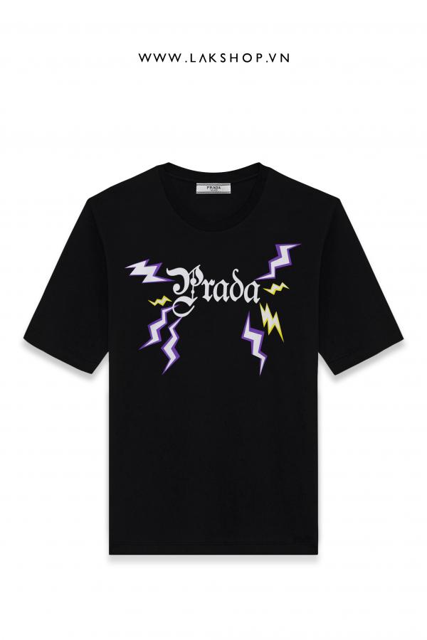 Prada lightning Logo Print T-Shirt  cv3