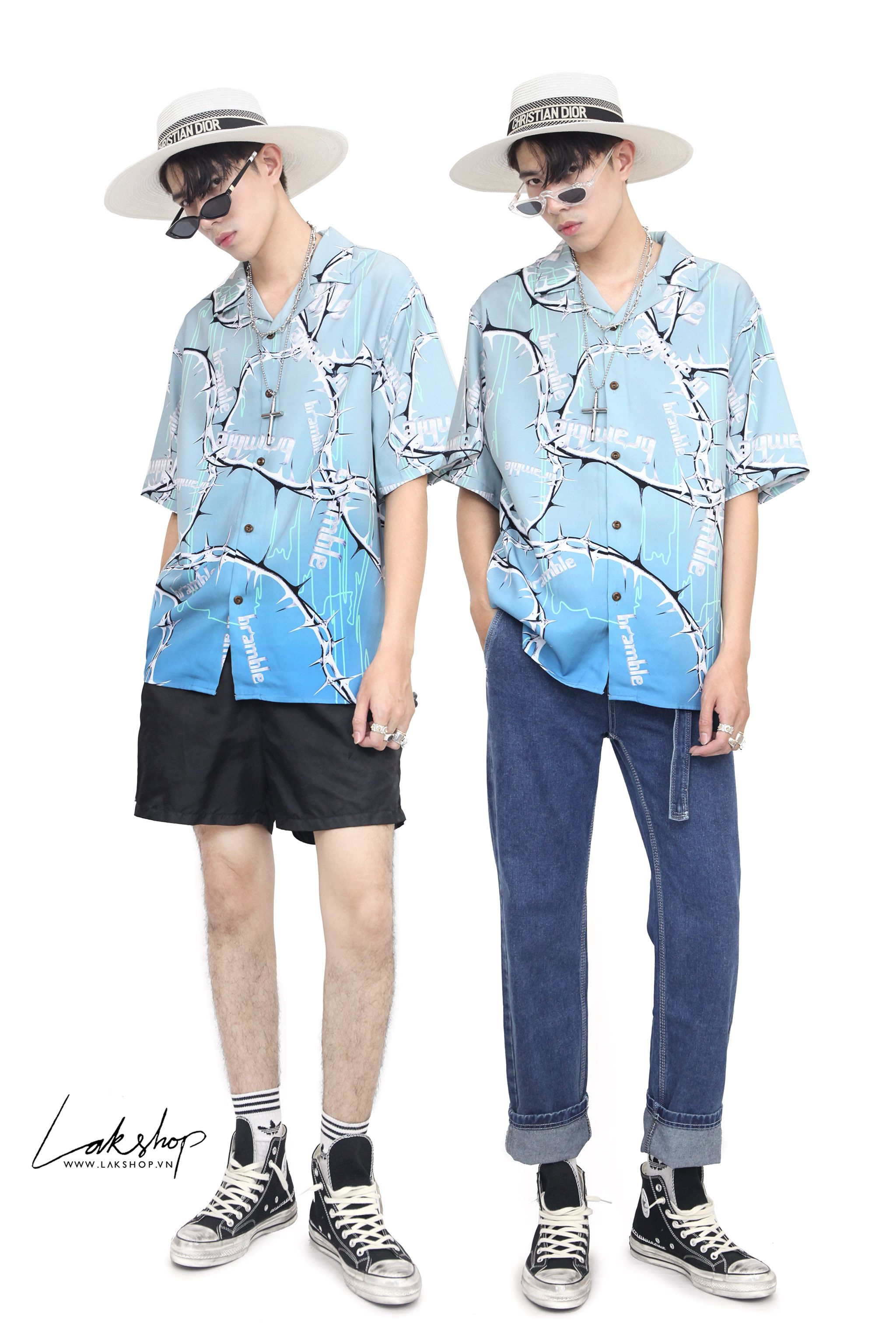 Oversized Ombre Blue Print Shirts