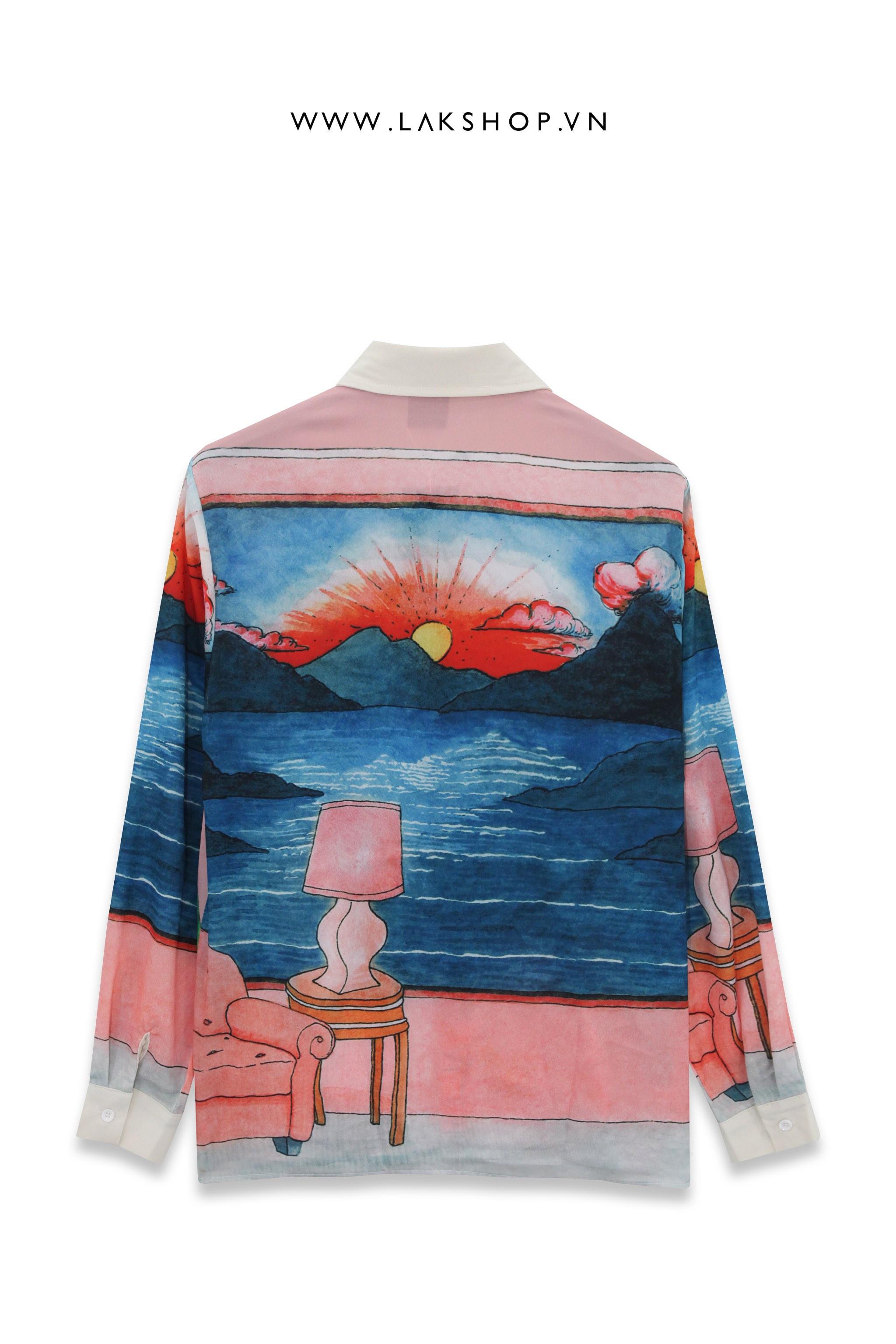 Rose Pink Silk Blend Italianate Print Shirt