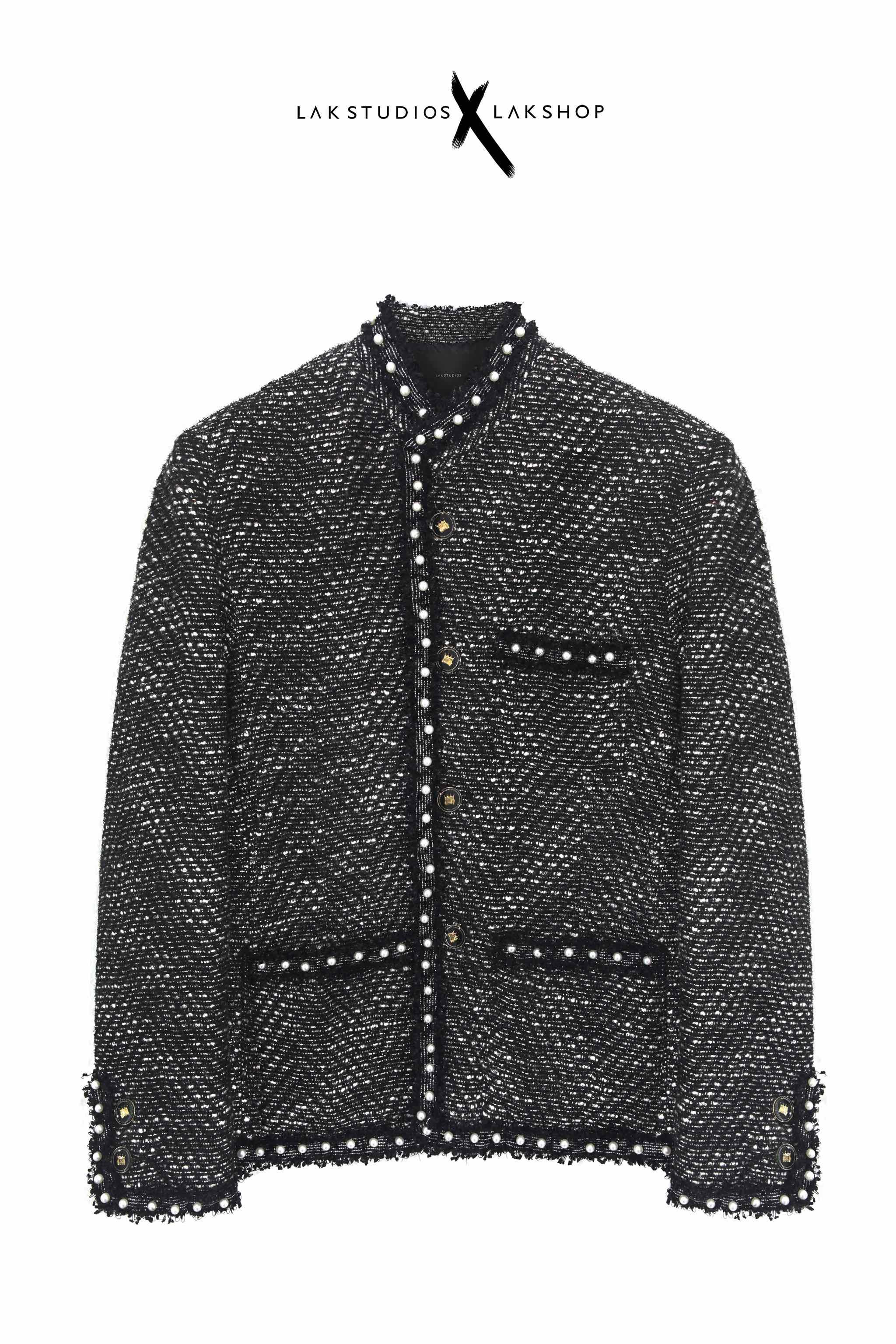 Áo Lak Studios Glitter Grey Tweed with Peal Trim Jackets cv2