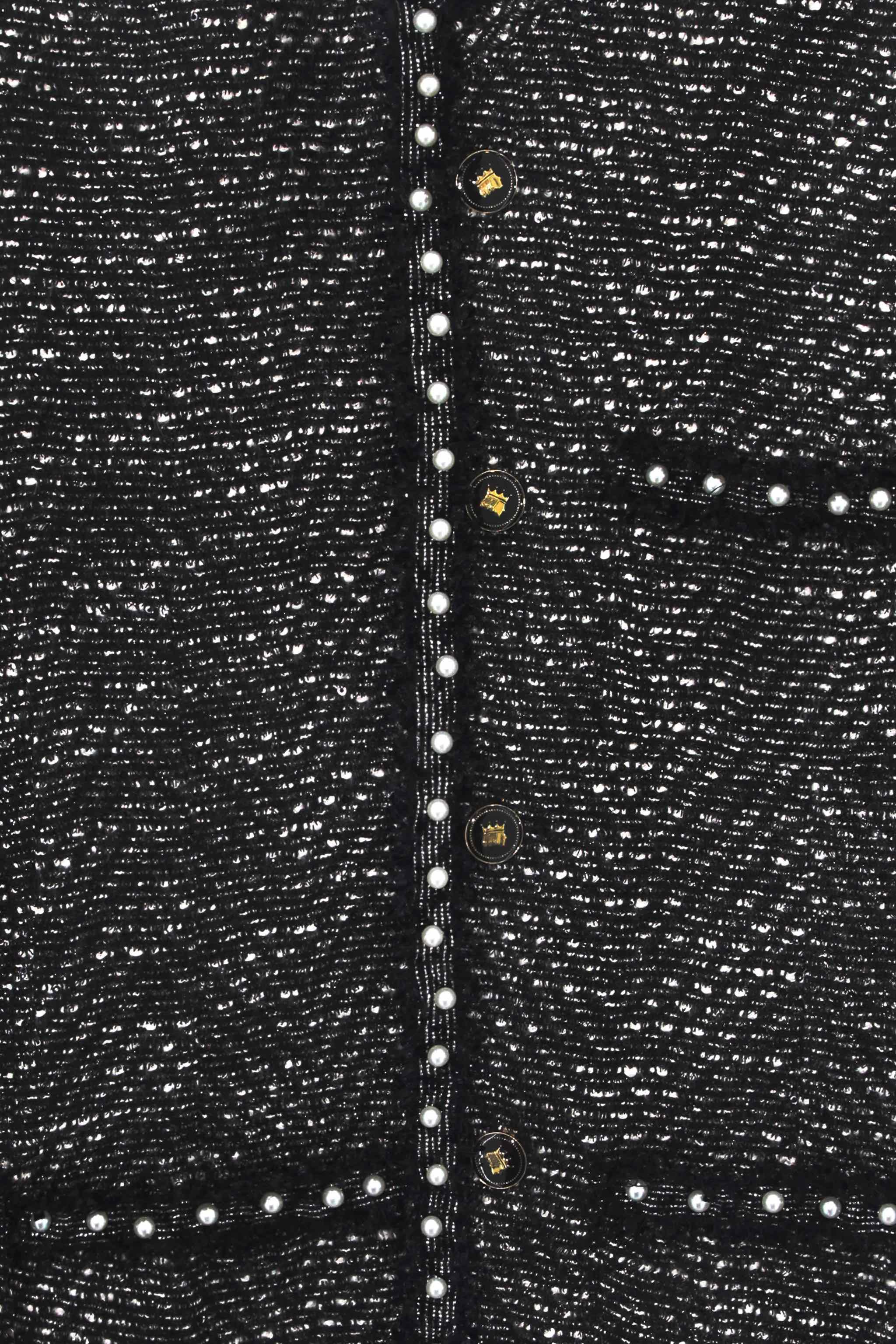 Áo Lak Studios Glitter Grey Tweed with Peal Trim Jackets