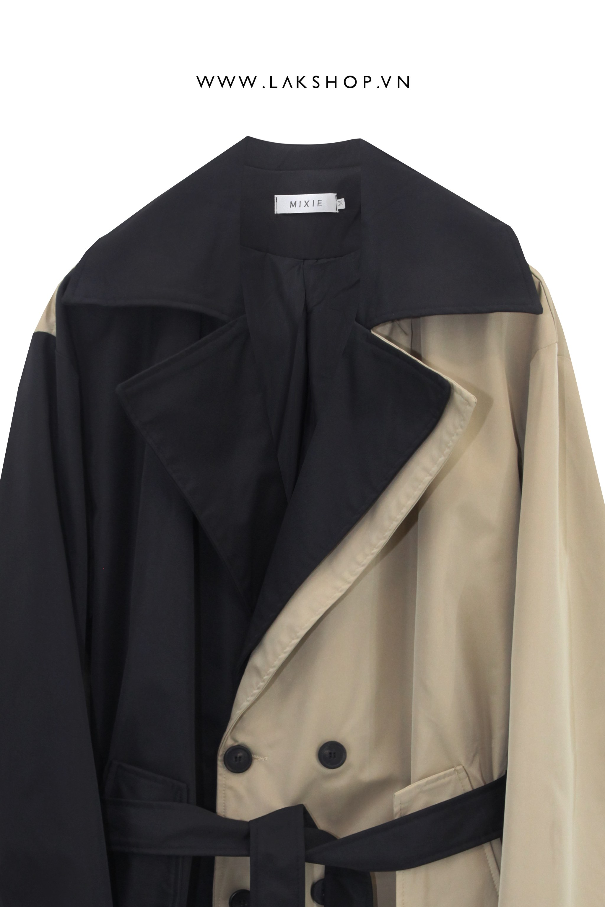 Two-Tone Black Tan Double-Breasted Trench Coat  cv2