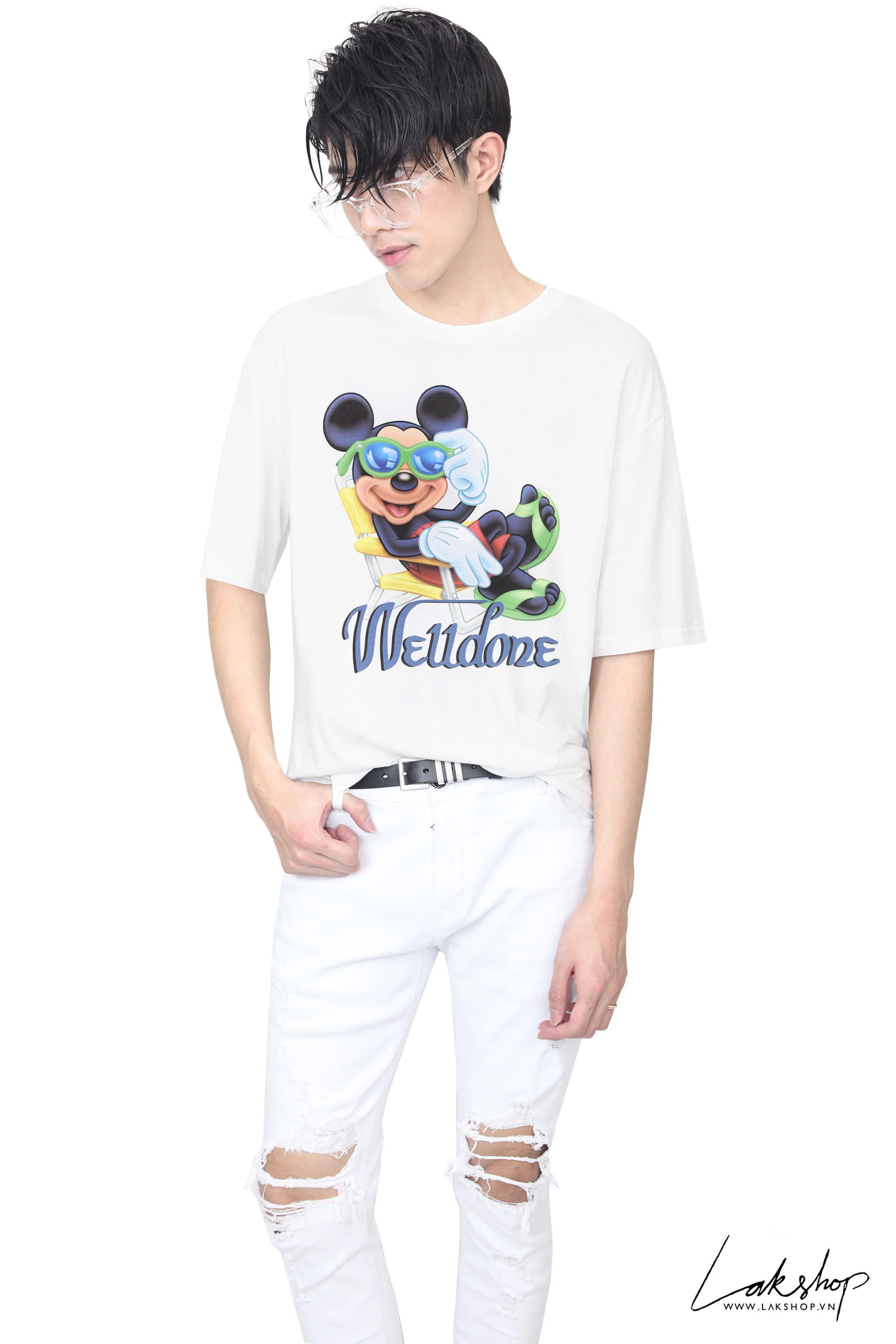Welldone x Mickey White Oversized T-Shirt (bản đẹp 1:1) cv3