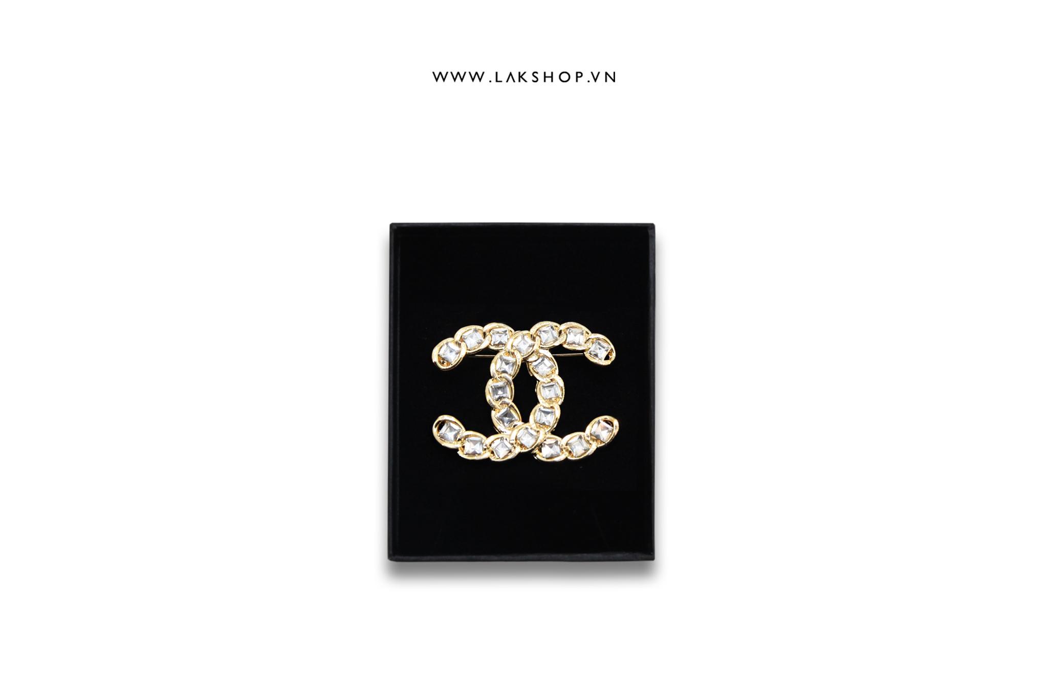 Trâm cài Logo Chanel Mắt Xích Đính Đá Vàng