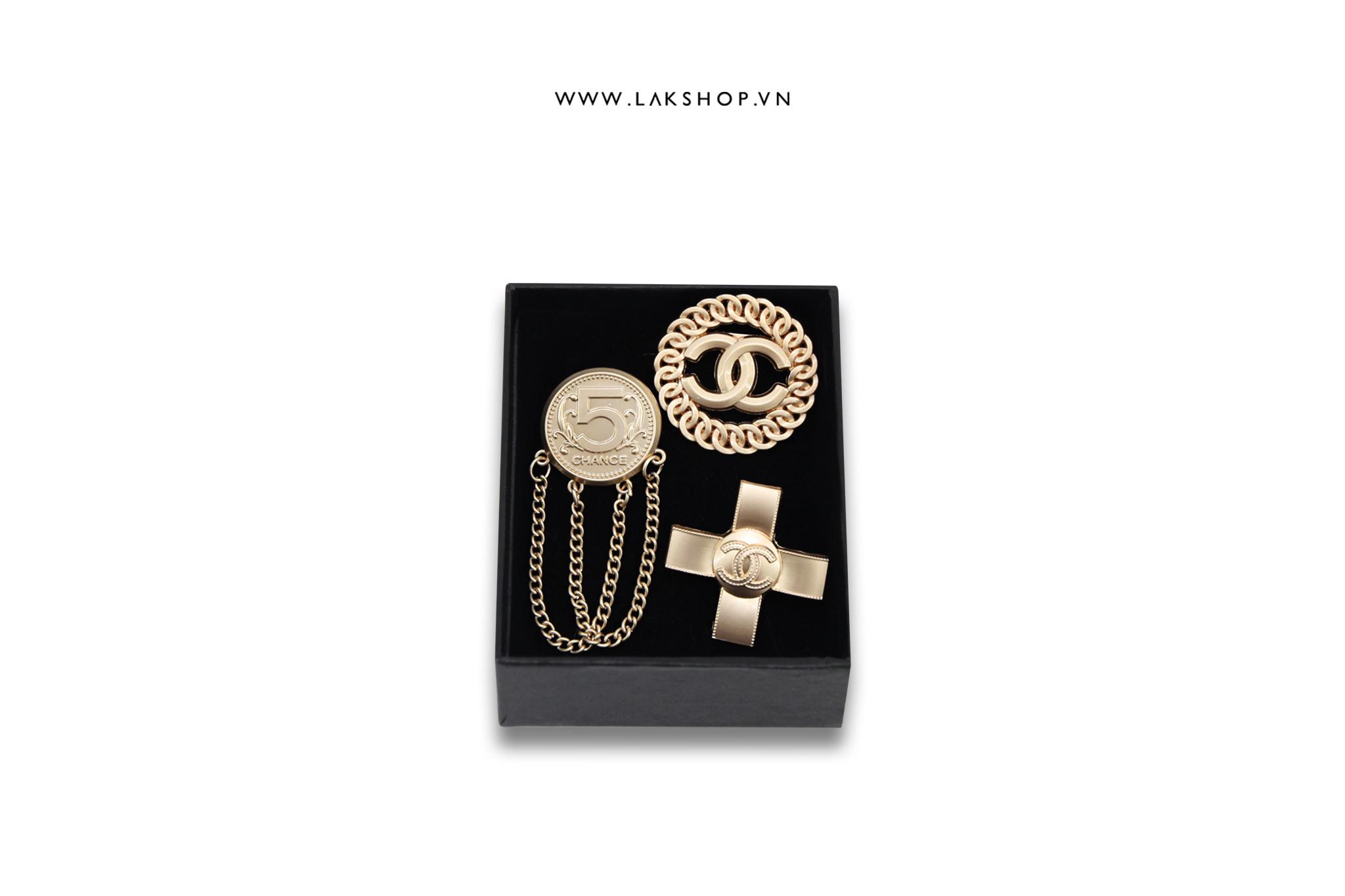 Set 3 Trâm Cài Chanel Logo CC Vàng