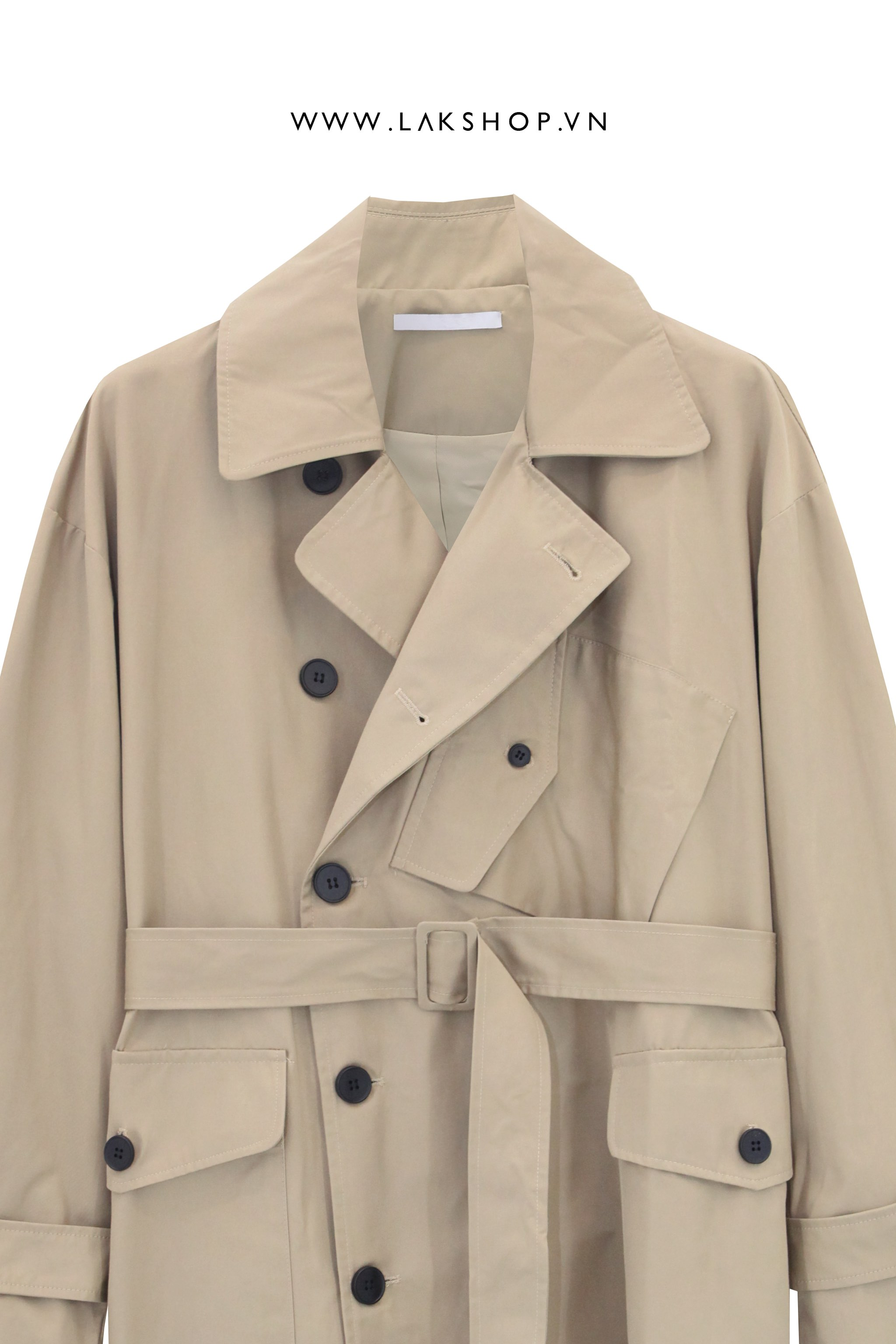 Belted Tan Trench Coat with Bag ds20