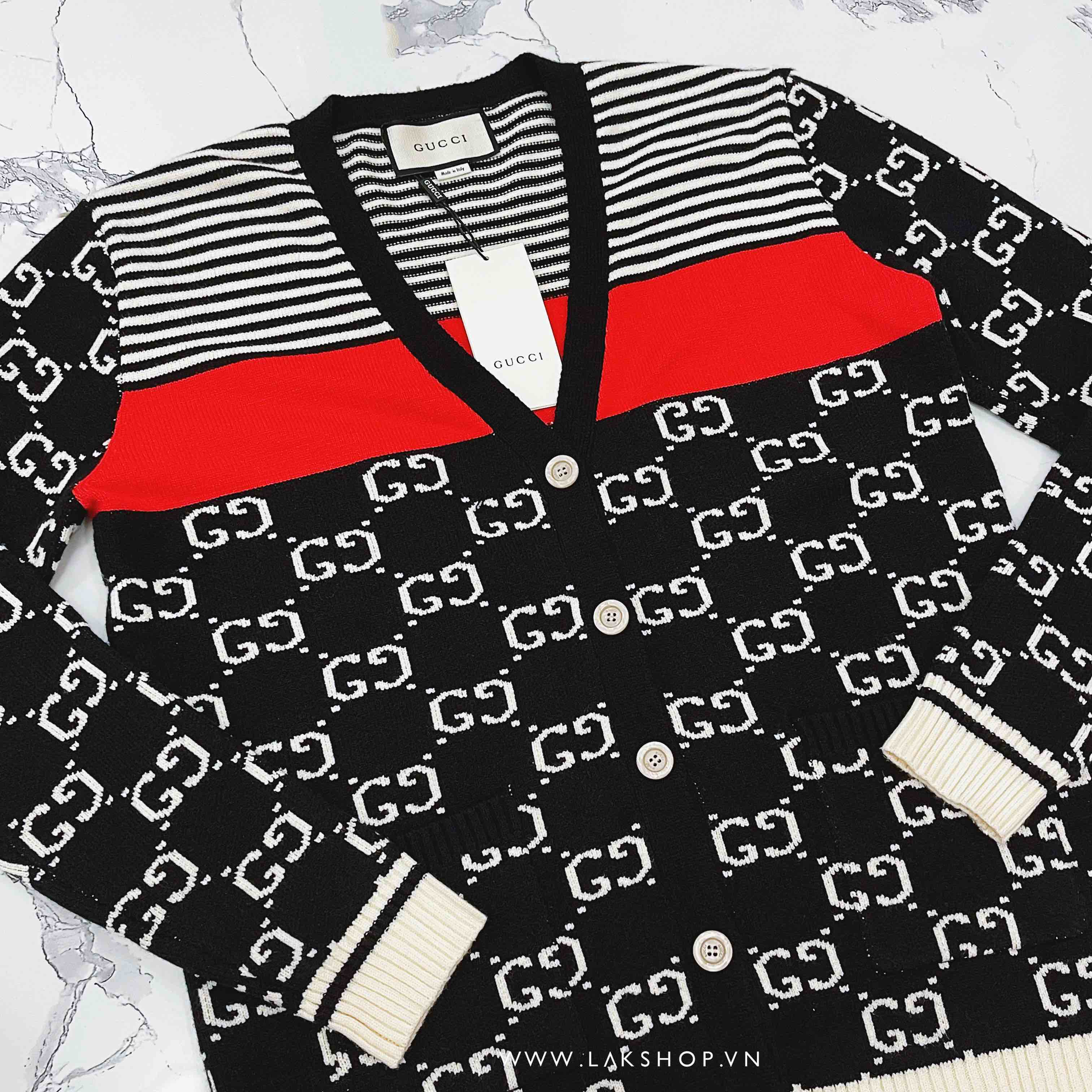 Gucci GG and Stripped Knit Cardigan