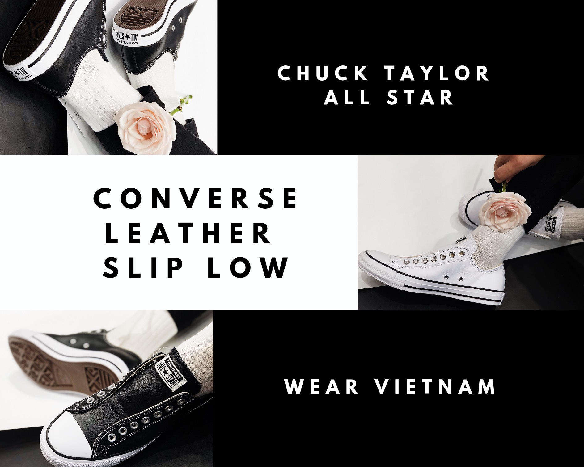 Giày Converse Chuck Taylor All Star Leather Slip Black - Low - 164976C