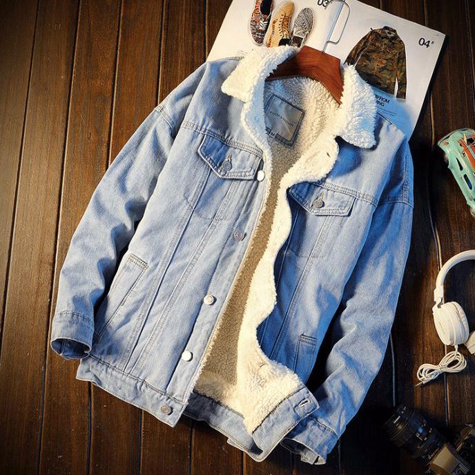 Áo khoác jeans lót lông trắng (SA02)