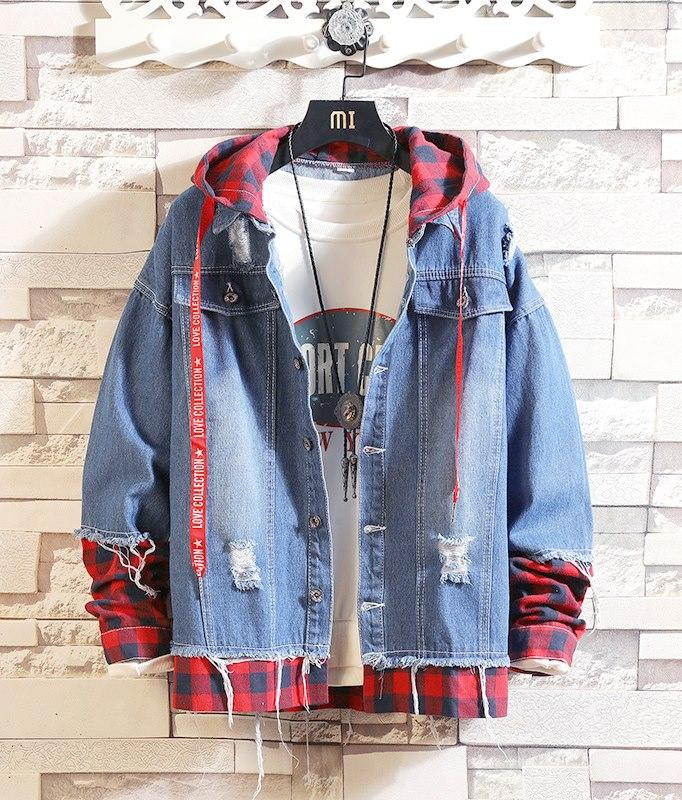 Áo khoác jeans kết hợp cổ caro ( SA01 )