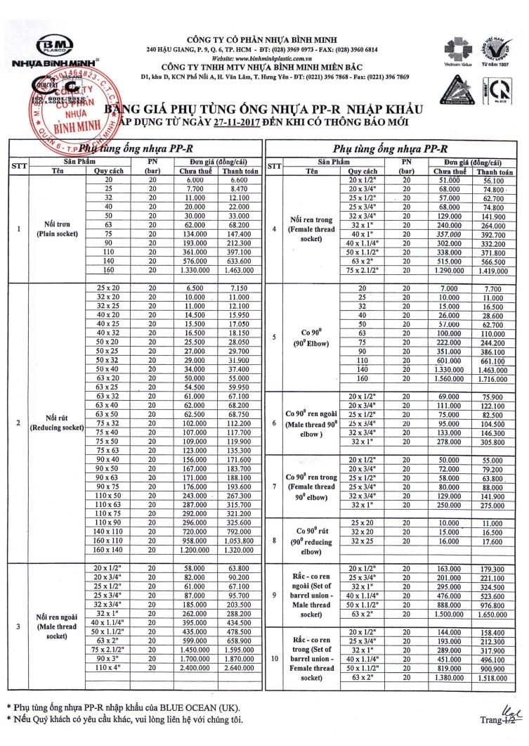 Phụ kiện PPR Nhập khẩu - trang 1