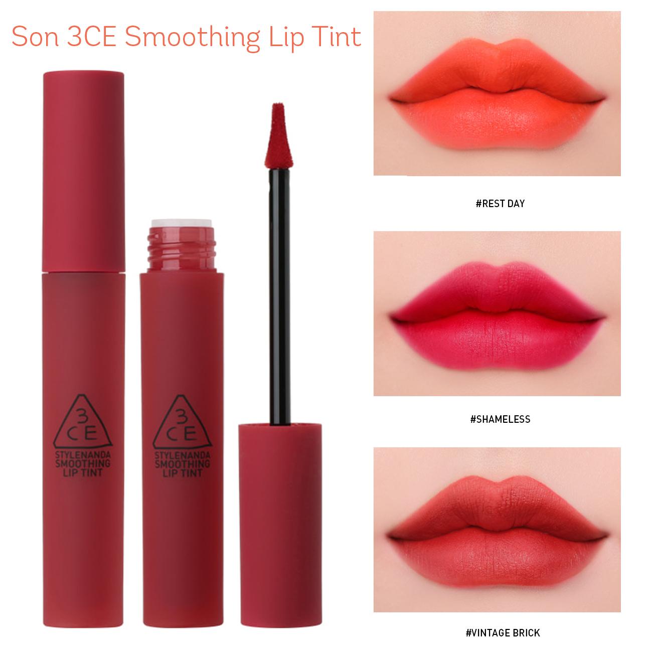 Son Kem Lì Siêu Mịn, Lên Màu Siêu Chuẩn 3CE Smoothing Lip Tint