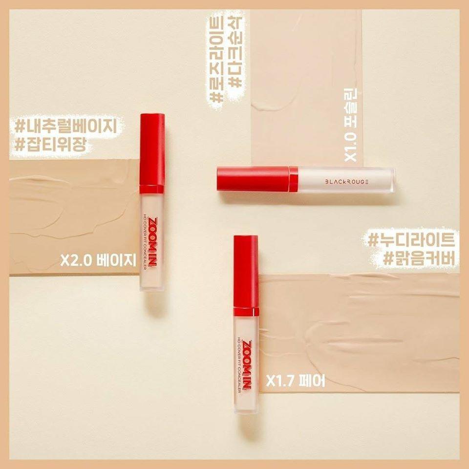 Kem Che Khuyết Điểm Che Phủ Hoàn Hảo, Tự Nhiên Black Rouge Zoom In HD Cover  Fit Concealer 3g Kissme Cosmetics