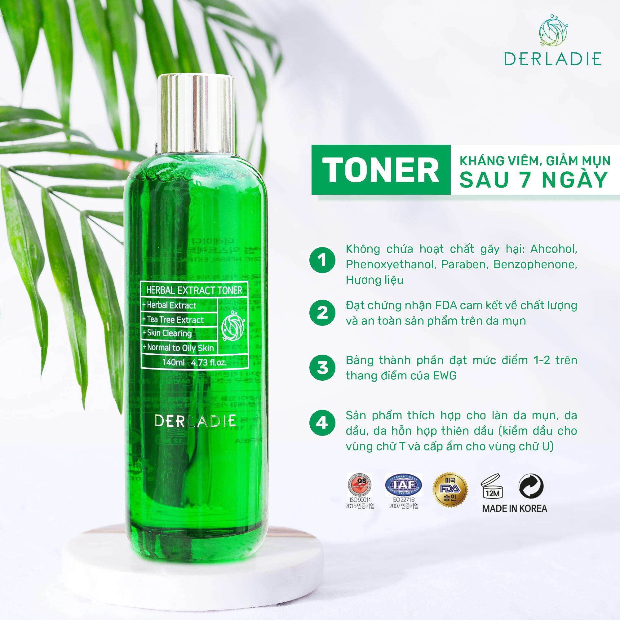 Nước Hoa Hồng Thảo Dược Trị Mụn Derladie Herbal Extract Toner