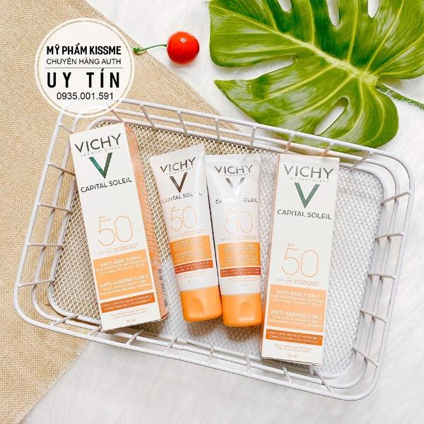 Kem Chống Nắng Chống Lão Hóa Vichy SPF 50 Ideal Soleil Soin Anti-Age Antioxydant 3-en-1 50ml